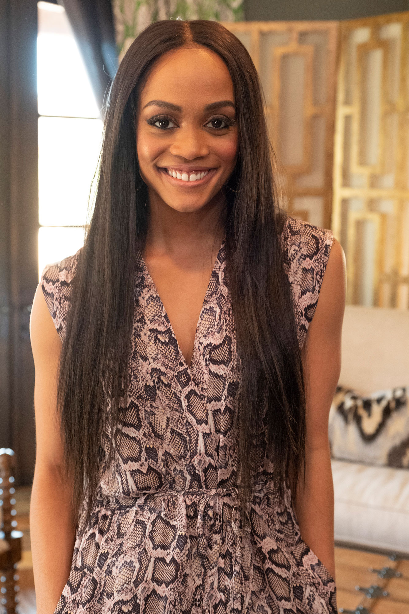 """Rachel Lindsay """"Bachelorette Reunion: The Biggest Bachelorette Reunion in Bachelor History Ever!"""" - Lindsay's wedding prep with fiancé Bryan Abasolo took center stage during the special. The twosome are set to tie the knot in the Caribbean in August and are ready to start a family."""