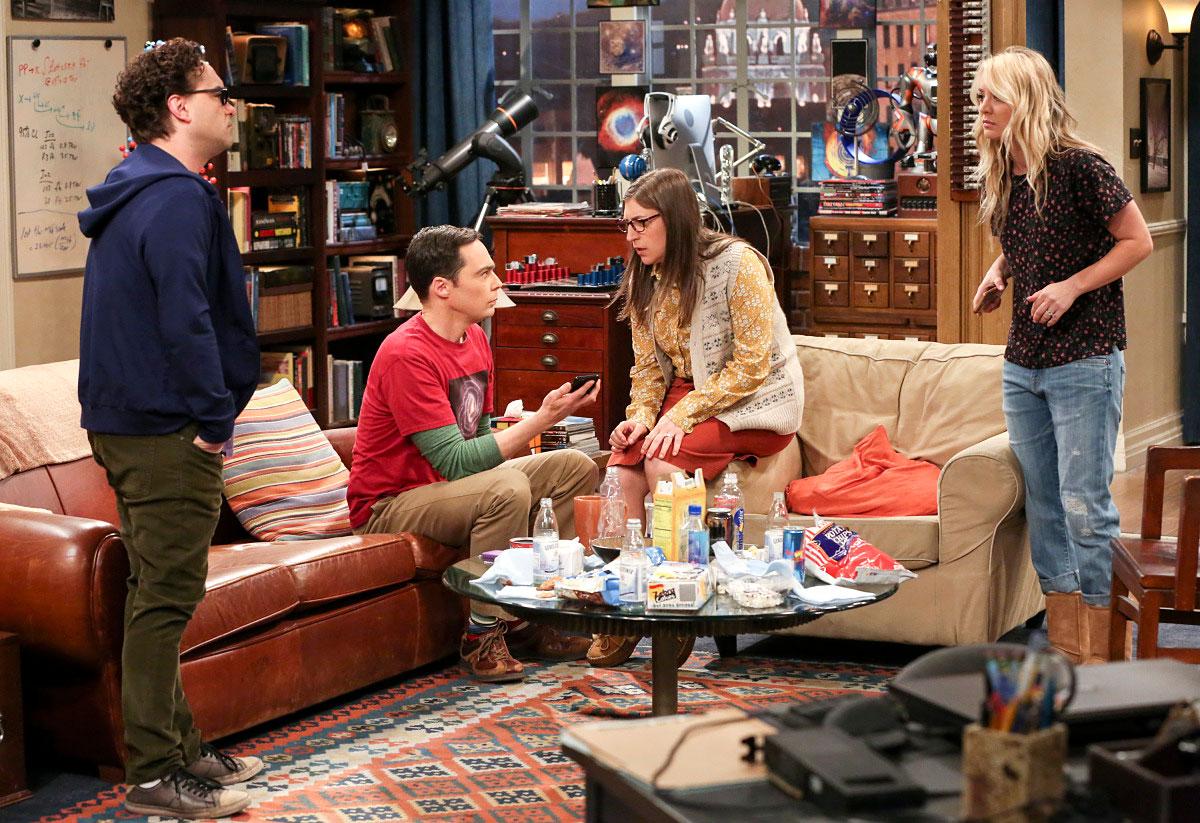 Big Bang Theory Recap Johnny Galecki Jim Parsons Mayim Bialik Kaley Cuoco - Johnny Galecki as Leonard Hofstadter, Jim Parsons as Sheldon Cooper, Mayim Bialik as Amy Farrah Fowler and Kaley Cuoco as Penny Leonard in the series finale of 'The Big Bang Theory.