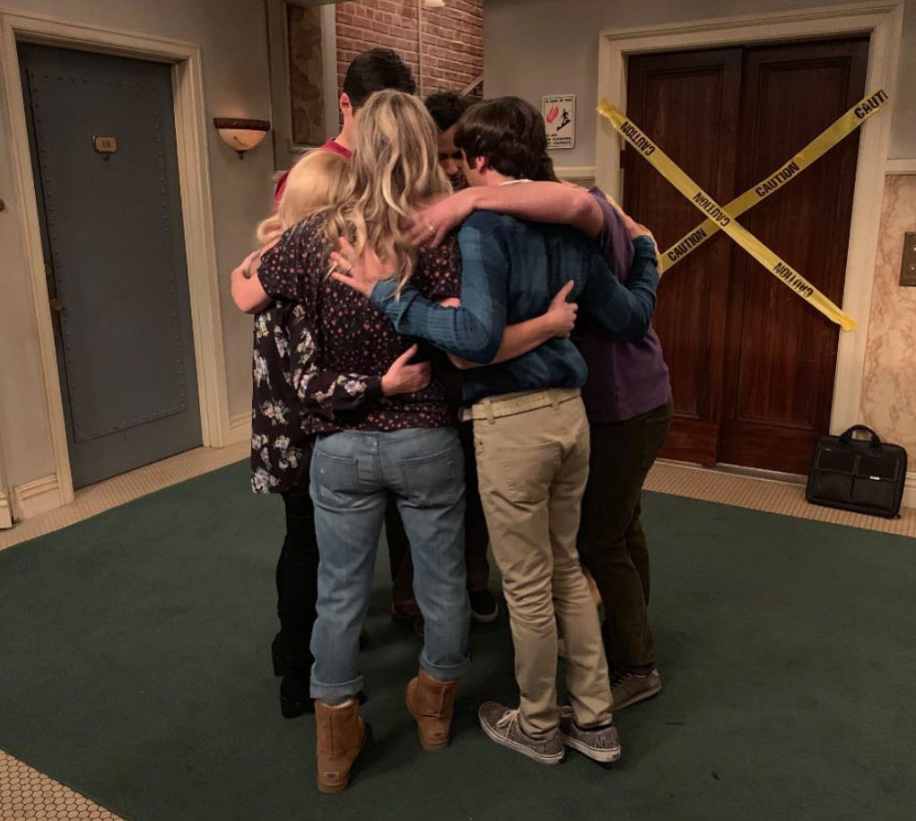 """Big-Bang-Theory-film-final-episode - Nayarr shared a photo of the group hugging in the hallway of their apartment. """"Thank you. Thank you for your words. Thank you for your encouragement. Thank you for tuning in night in and night out,"""" he captioned the photo ."""