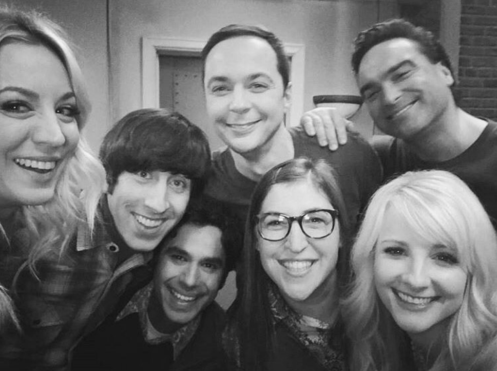 """Big-Bang-Theory-film-final-episode - Rauch, who plays Bernadette on the show, shared a black and white group selfie of the cast on set of the final shoot. """"Forever,"""" she wrote ."""