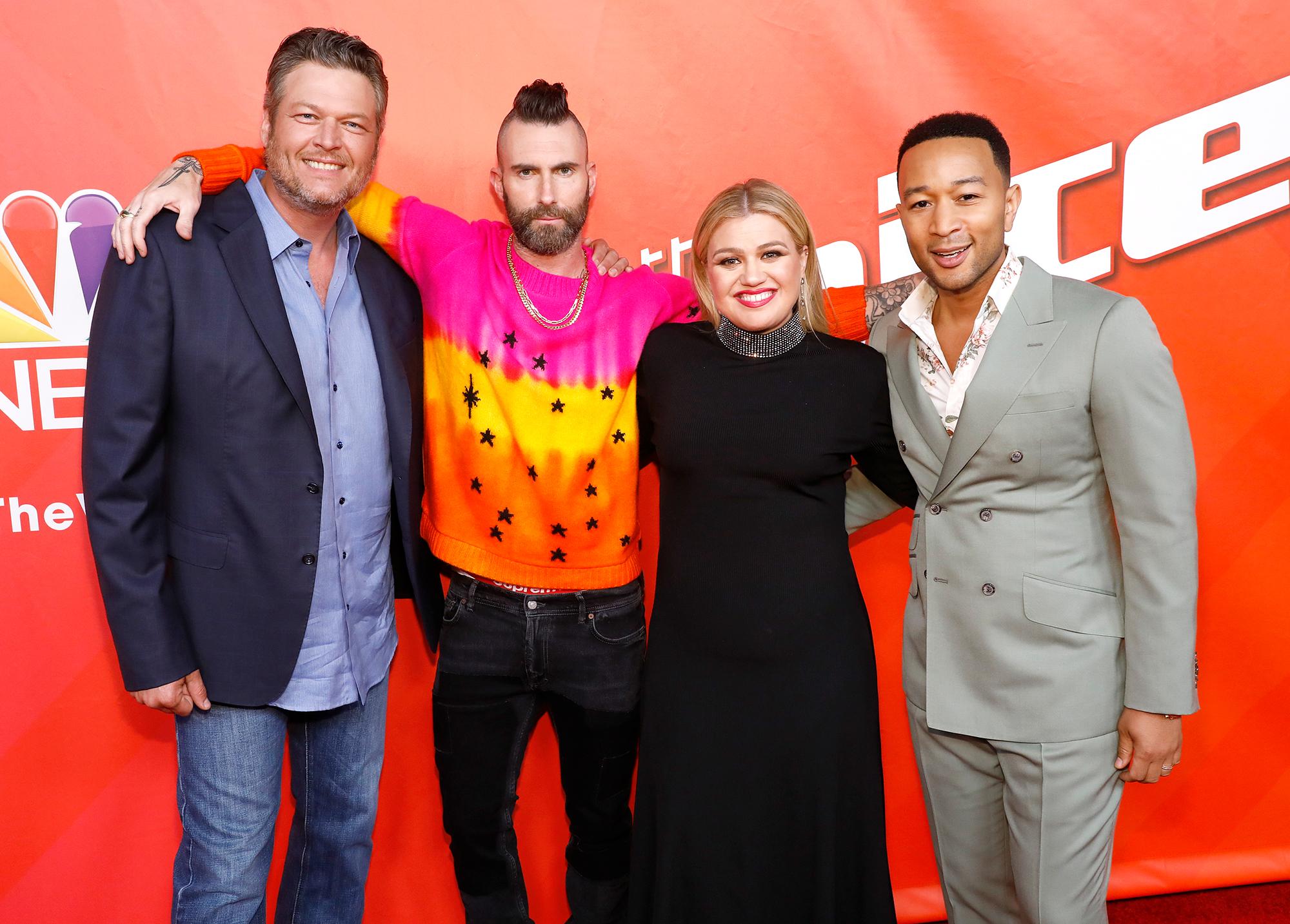 Blake Shelton, Adam Levine, Kelly Clarkson, and John Legend