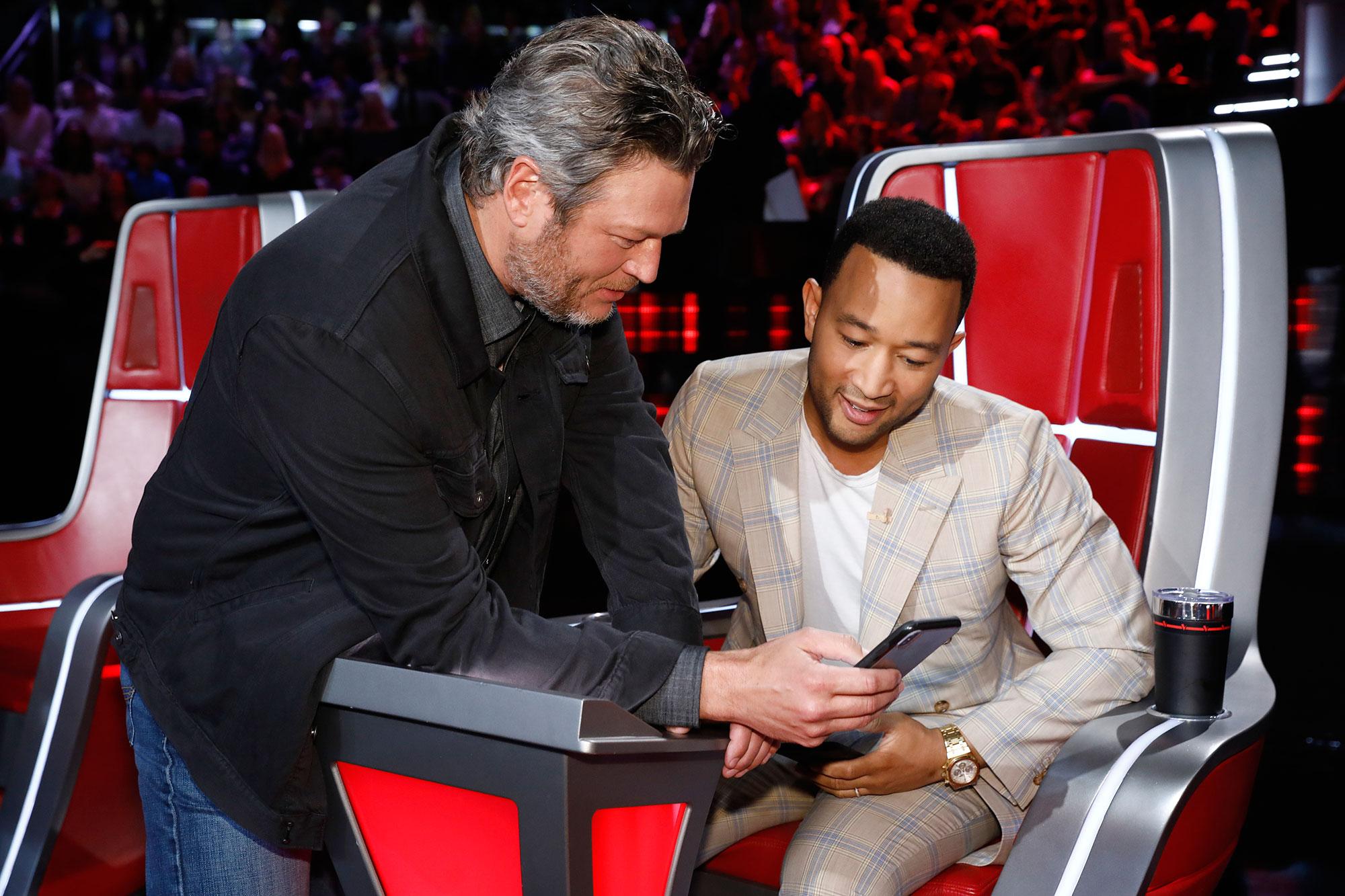 Blake Shelton, John Legend Voice Who Will Win - Blake Shelton and John Legend during an episode of 'The Voice.