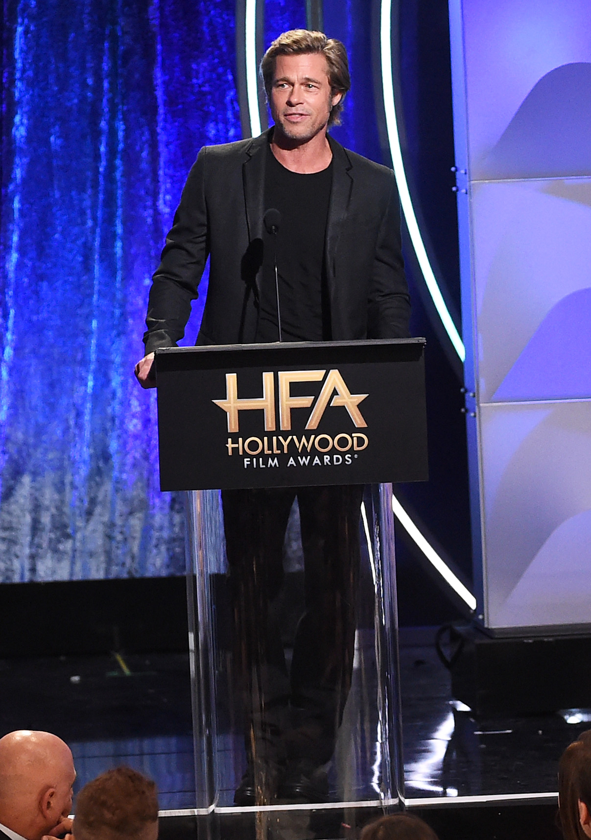Brad Pitt - A simple crewneck tee dressed down Pitt's black suit at the 22nd Annual Hollywood Film Awards in Beverly Hills on November 4, 2018.