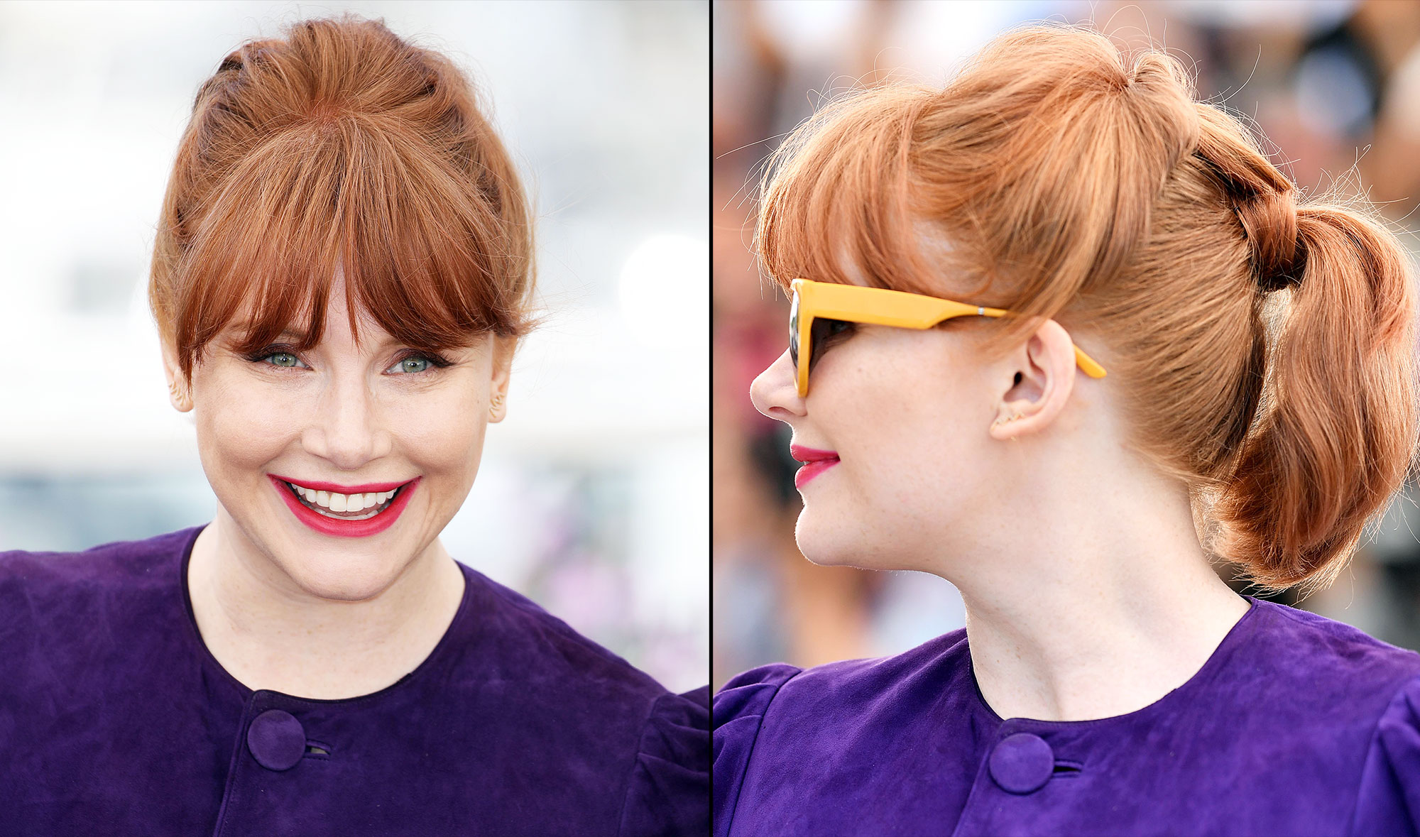 Bryce Dallas Howard Cannes Film Festival Real Real Consignment Purple Dress - Celeb makeup artist Kara Yoshimoto Bua and hairstylist Jenny Cho are the actress' glam squad for the festival. To complement that striking red lip and flirty retro vibe of the frock, Cho created an intricate layered ponytail.