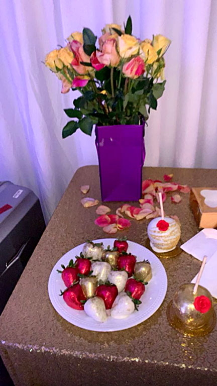 "Cardi B's Mother's Day Feast - ""I feel so special,"" Cardi screamed of the South Carolina leg of her Mother's Day celebration. Food there, arranged on several different tables, included gold-covered strawberries and apples as well as similarly decorated cake pops."