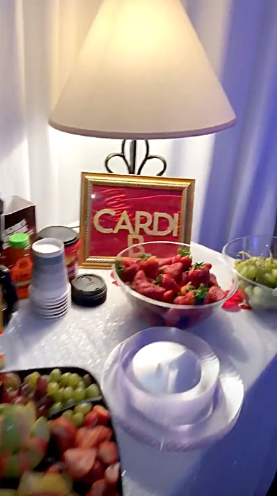 Cardi B's Mother's Day Feast - In addition to several decadent foods, Cardi's South Carolina spread also included some old favorites such as bottles of Coke and Pepsi, several bags of Haribo gummy bears and multiple fruit plates.