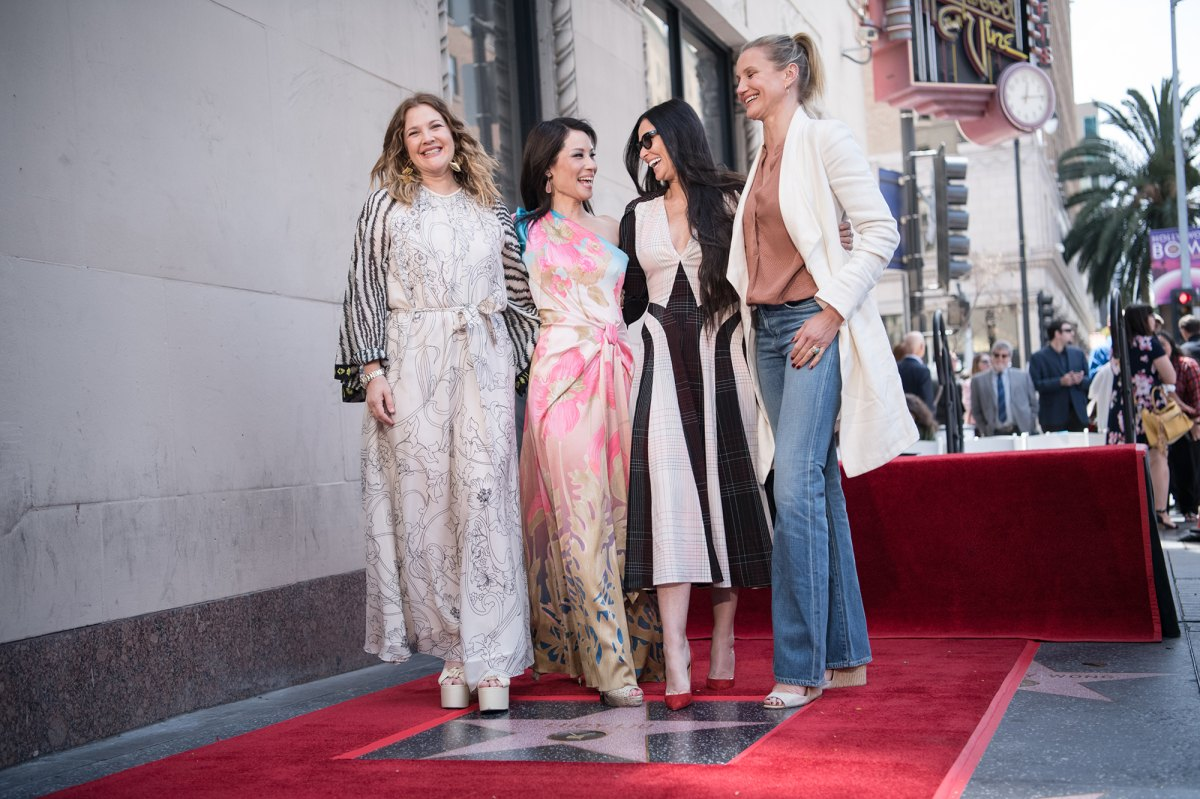 Cameron Diaz Drew Barrymore Demi Moore At Lucy Liu Walk Of Fame