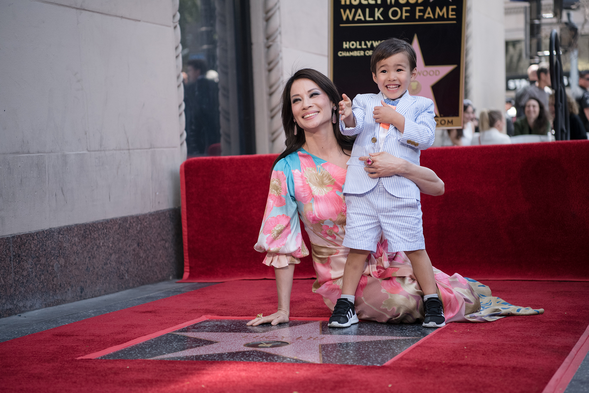 Charlie's Angels Cameron Diaz Drew Barrymore Demi Moore Lucy Liu Walk of Fame - Liu announced in August 2015 that she welcomed Rockwell via surrogate .