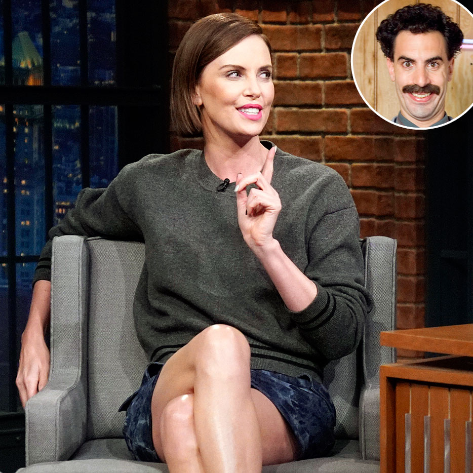 Charlize Theron Borat Laughing Hospital Late Night with Seth Meyers - Charlize Theron and Sacha Baron Cohen in character as Borat.