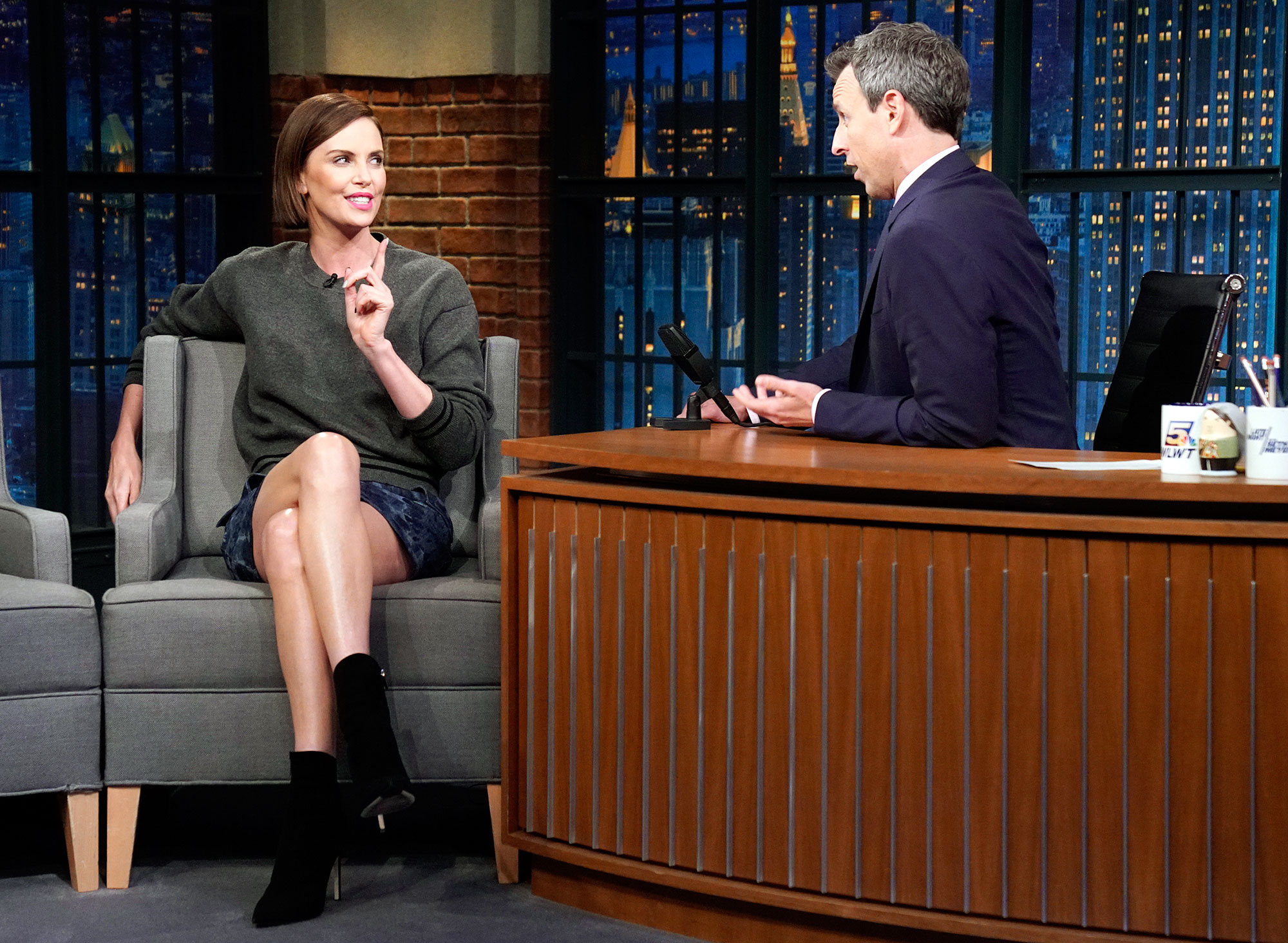 Charlize Theron Borat Laughing Hospital Late Night with Seth Meyers