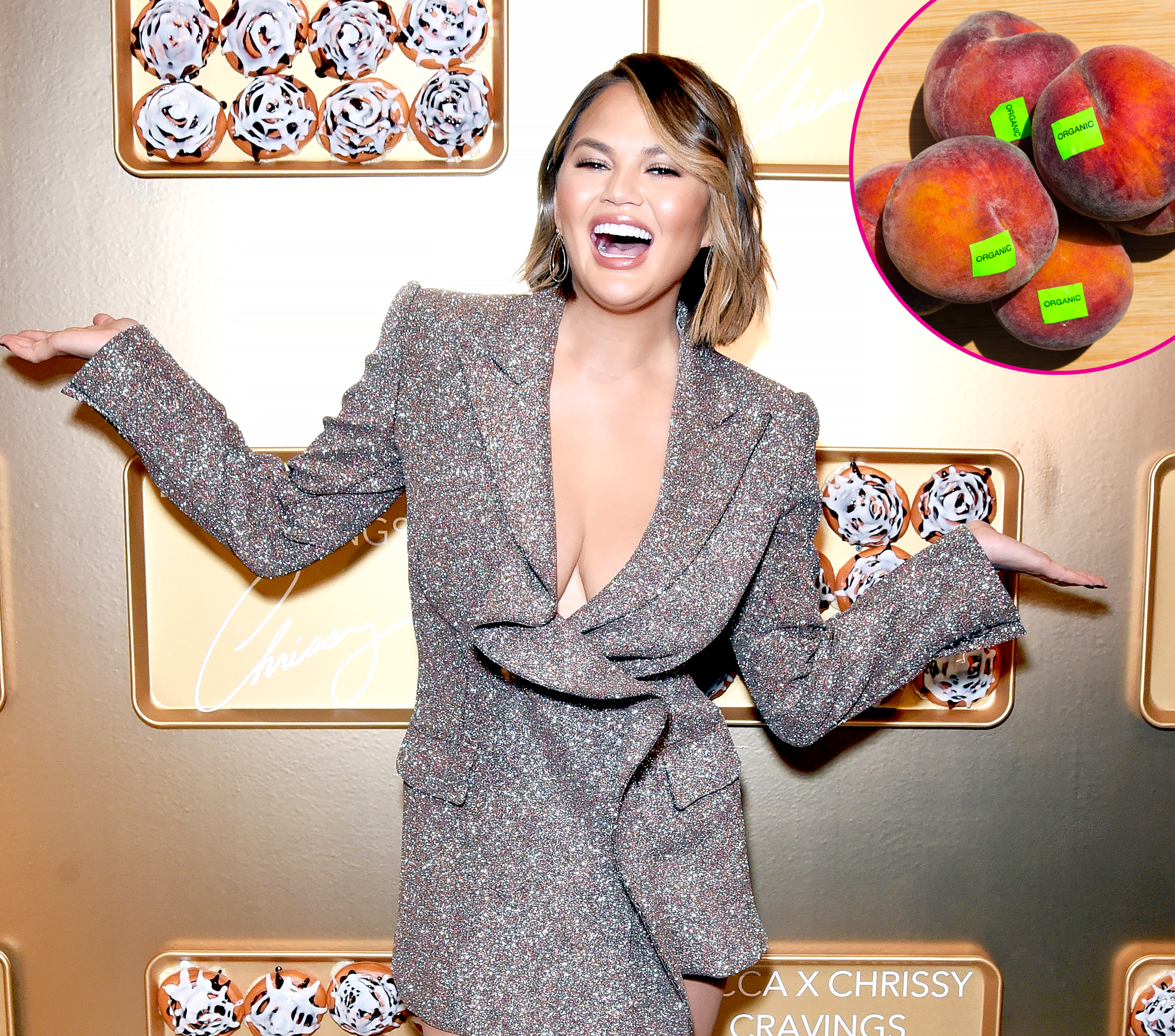 """Chrissy-Teigen-Ate-a-Produce-Sticker - After the Lip Sync Battle cohost took to Instagram in August 2018 to share her """"genius idea"""" that produce stickers should be edible, Twitter was somehow able to convince her that was already the case. The cookbook author was then duped into purposefully eat one of the colorful labels, but luckily she didn't lose her sense of humor."""