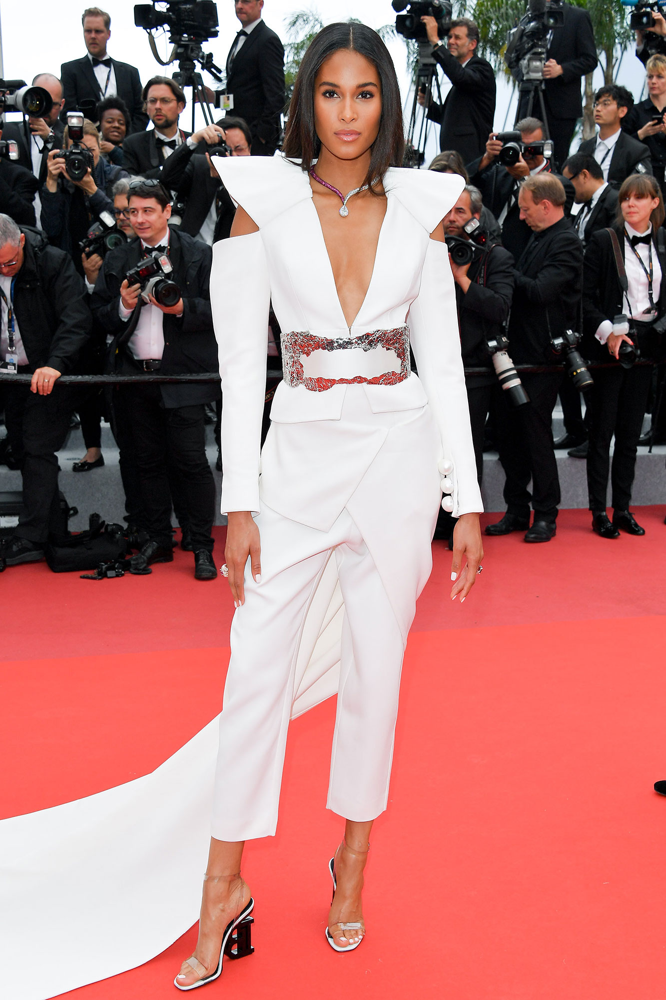 Cindy Bruna Memorial Day White - Need something a little fancier? This Balmain jumpsuit the French model wore on May 20, 2019 is fierce, funky and seriously beautiful.