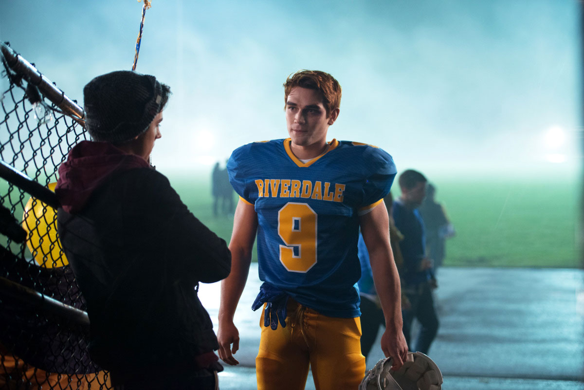 Cole Sprouse and KJ Apa Riverdale High School Football - Cole Sprouse and KJ Apa in 'Riverdale.