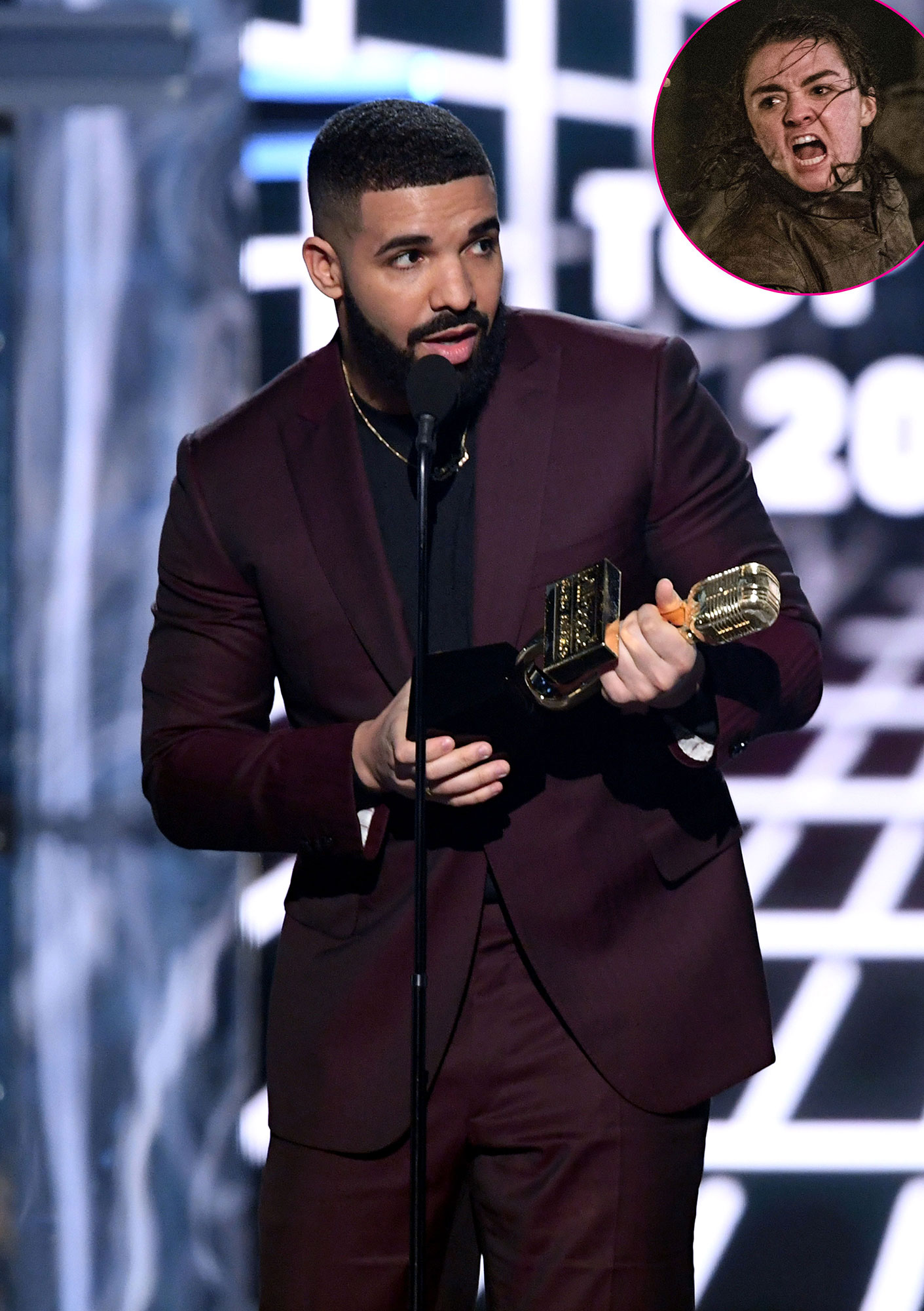 "Drake-Calls-Out-Arya-Stark-Billboard-Music-Awards-2019 - Drake gave a nod to Maisie Williams ' Game of Thrones character in his acceptance speech for Top Billboard 200 Album. ""Shout-out to Arya Stark for putting in that work last weekend,"" he joked, referring to the epic ""Battle of Winterfell"" episode of the HBO series."