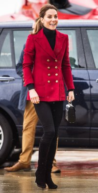 Duchess Kate Cozies up in a Red Blazer on Day of Baby Sussex's Reveal