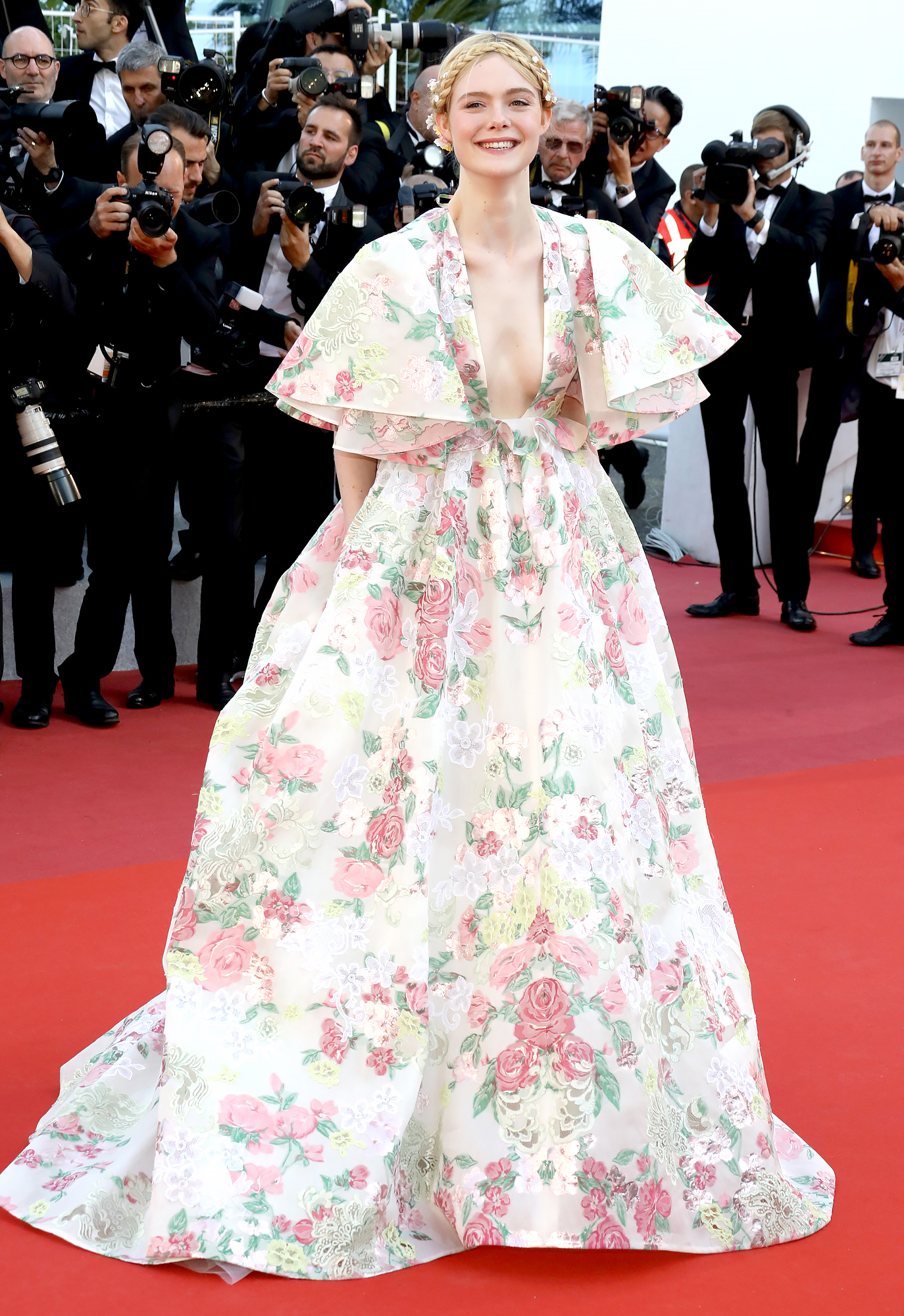Elle-Fanning-Cannes-Festival - The jurist was the belle of the ball at the Les Miserables screening on Wednesday, May 15, in her flowery Valentino ballgown.
