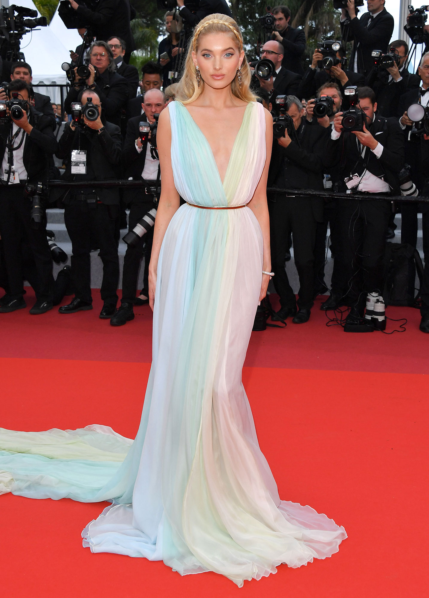 Stepping Out in Style at Cannes Film Festival - Pretty in a pastel Etro gown and Grisogono jewels, the model brought some color to the red carpet at the A Hidden Life screening on Sunday, May 19.