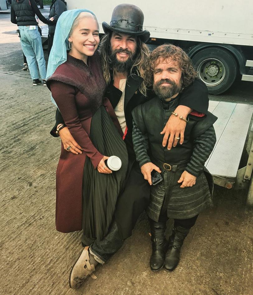 Emilia-Clarke-Shares-Photo-With-Starbucks-Cup - Emilia Clarke, Jason Momoa, Peter Dinklage