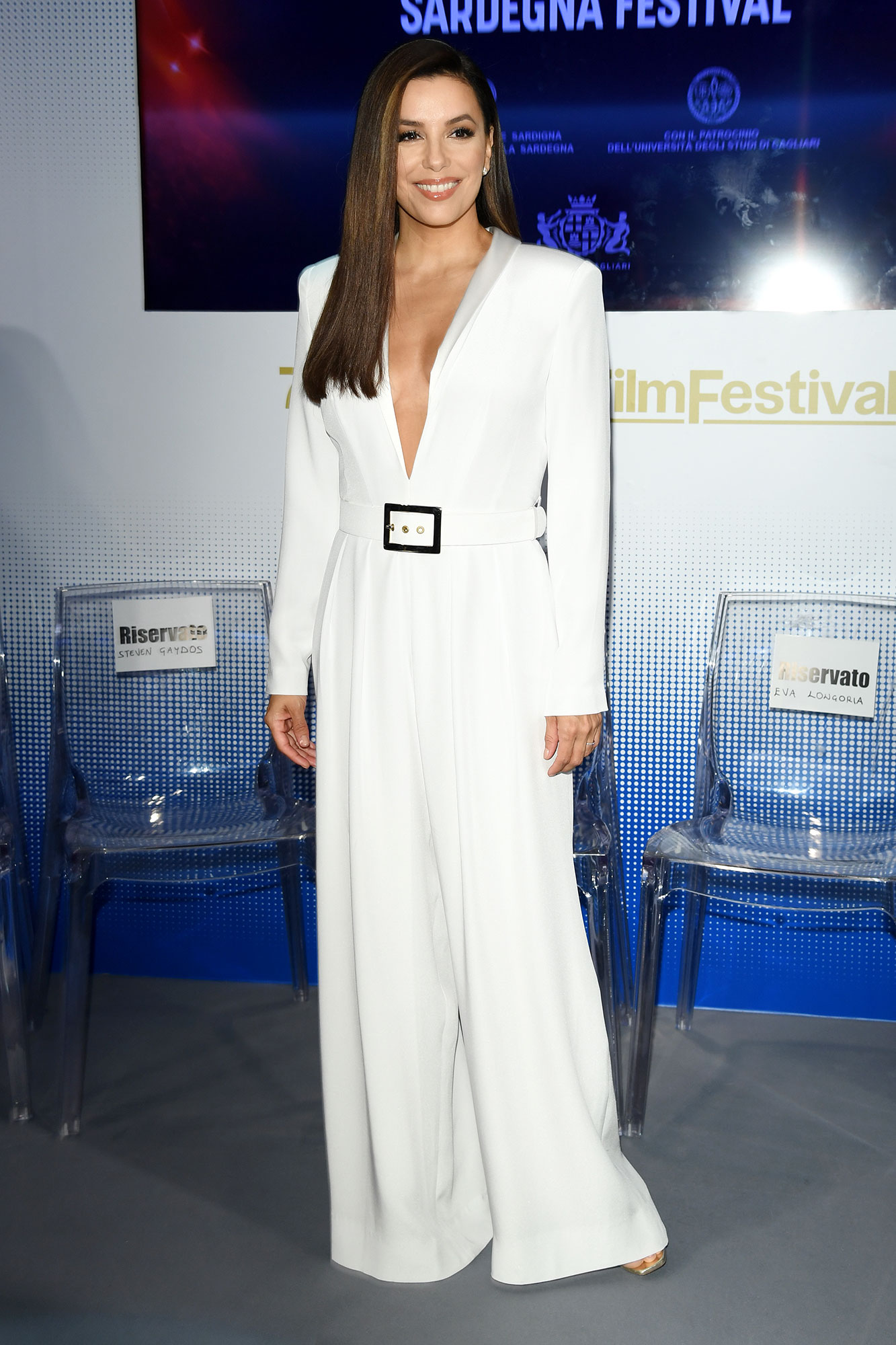 Stepping Out in Style at Cannes Film Festival - The actress rocked a plunging Alberta Ferretti pantsuit at the Sardegna Festival photocall on Saturday, May 18.