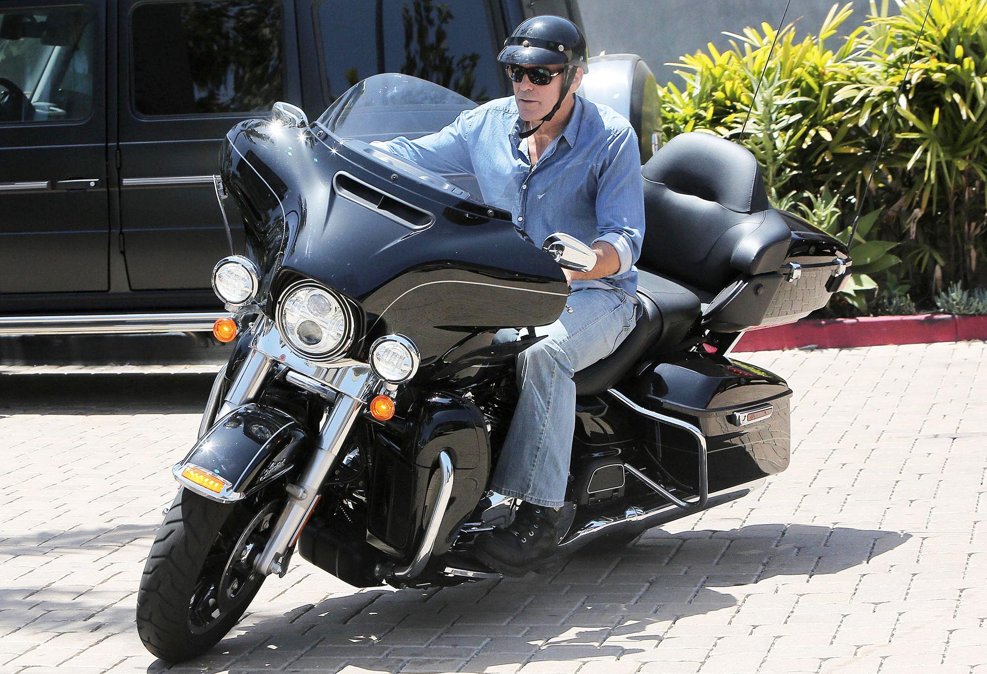 George Clooney Motorcycle Crash Die - George Clooney rides his motorcycle in Malibu, California on June 5, 2014.