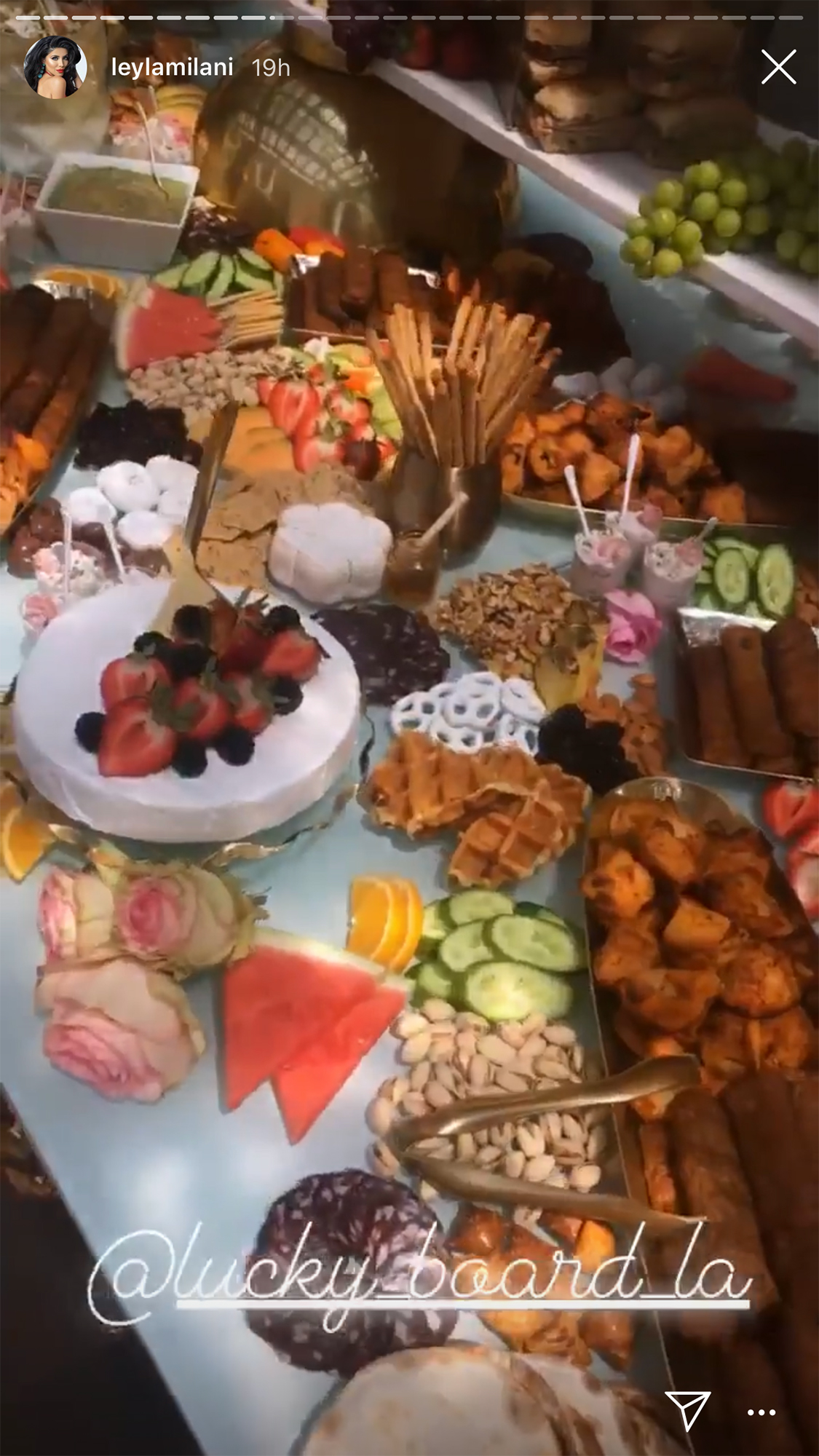 Gretchen Rossi Celebrates Baby Shower - Milani-Khoshbin panned over the party's buffet table.