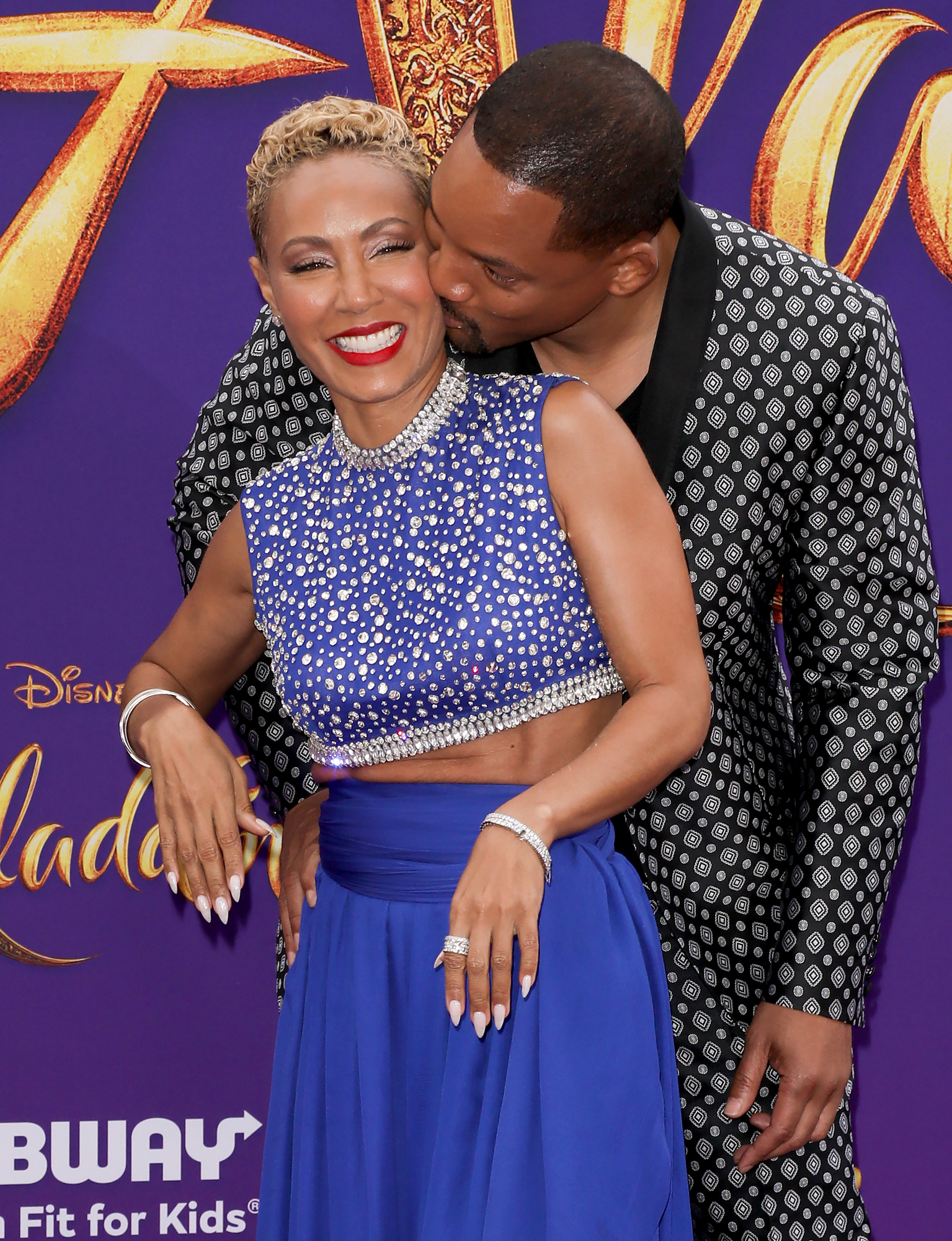 Jada-Pinkett-Smith-Will-Aladdin-premiere - Jada lit up as Will leaned in for a kiss.