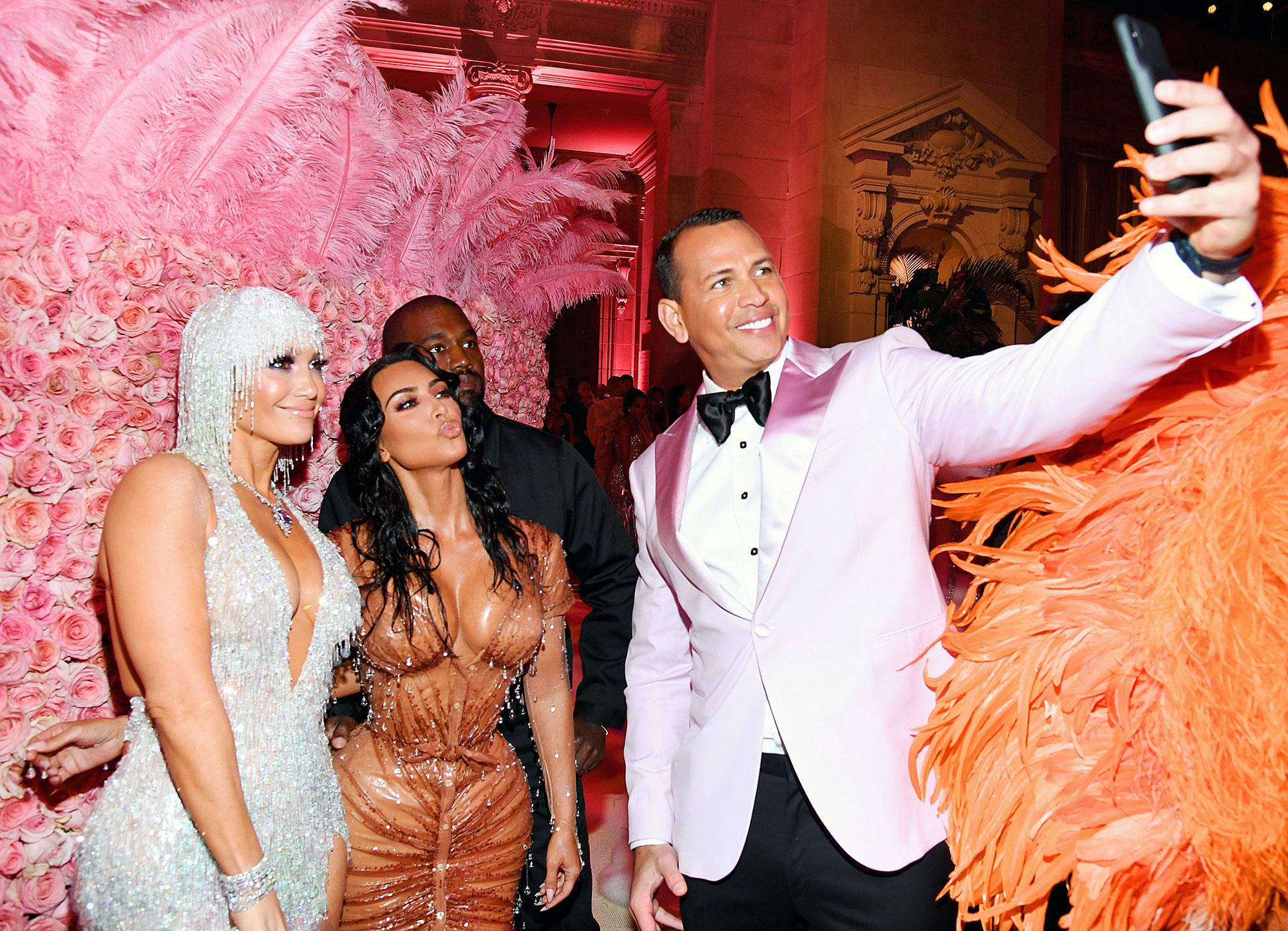 Met Gala 2019 What You Didnt See Jennifer Lopez Kim Kardashian West Kanye West Alex Rodriguez Selfie - Alex Rodriguez snapped a selfie with fiancée Jennifer Lopez, Kim Kardashian and Kanye West.