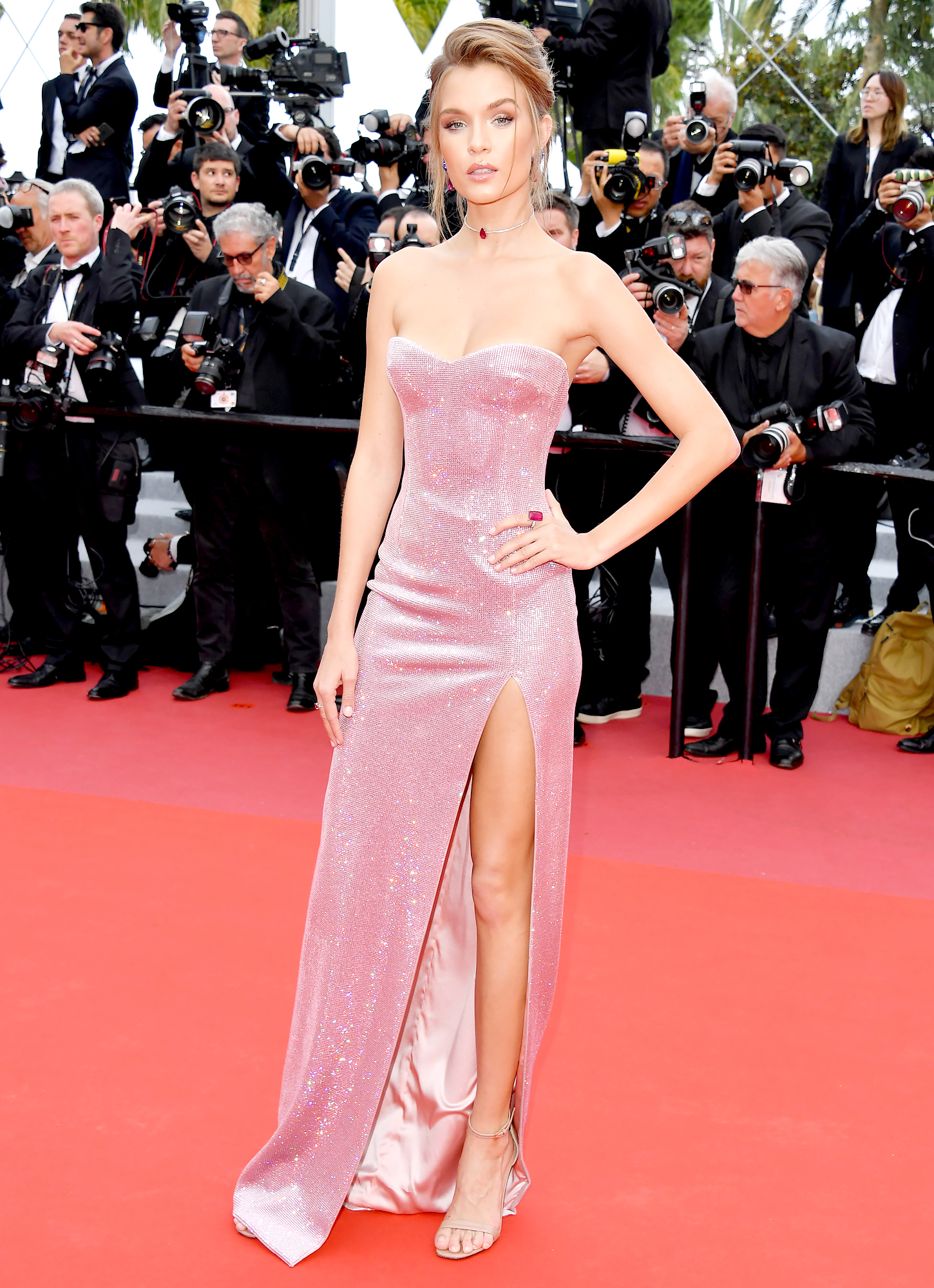 Josephine-Skriver - The model was pretty in pink at the Once Upon a Time in Hollywood screening on Tuesday, May 21, in her Philosophy di Lorenzo Serafini strapless gown.