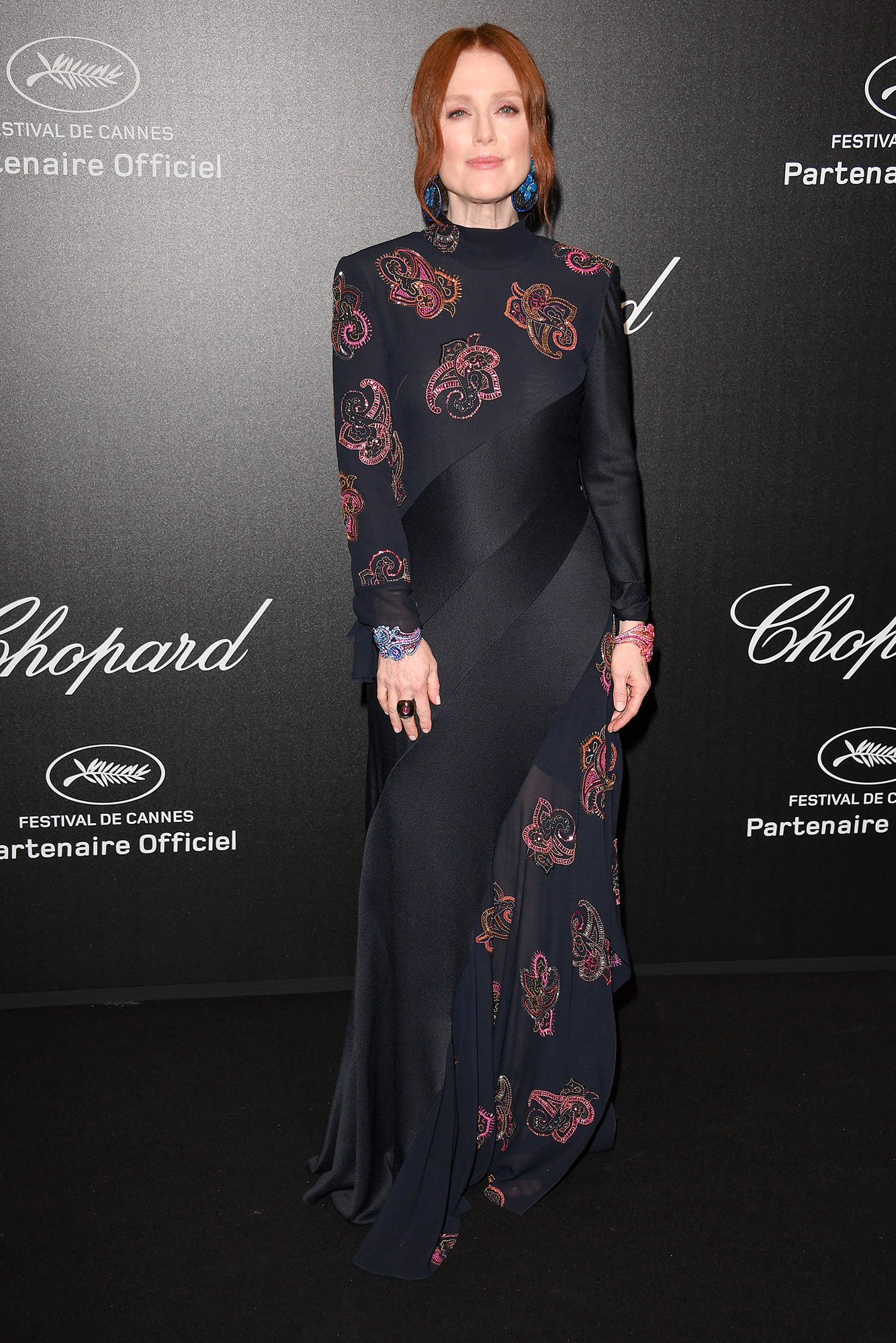 Julianne Moore Stepping Out in Style at Cannes Film Festival - Colorful Chopard jewels were the perfect complement to the actress' embellished Chloe gown at the Chopard Party on Friday, May 17.