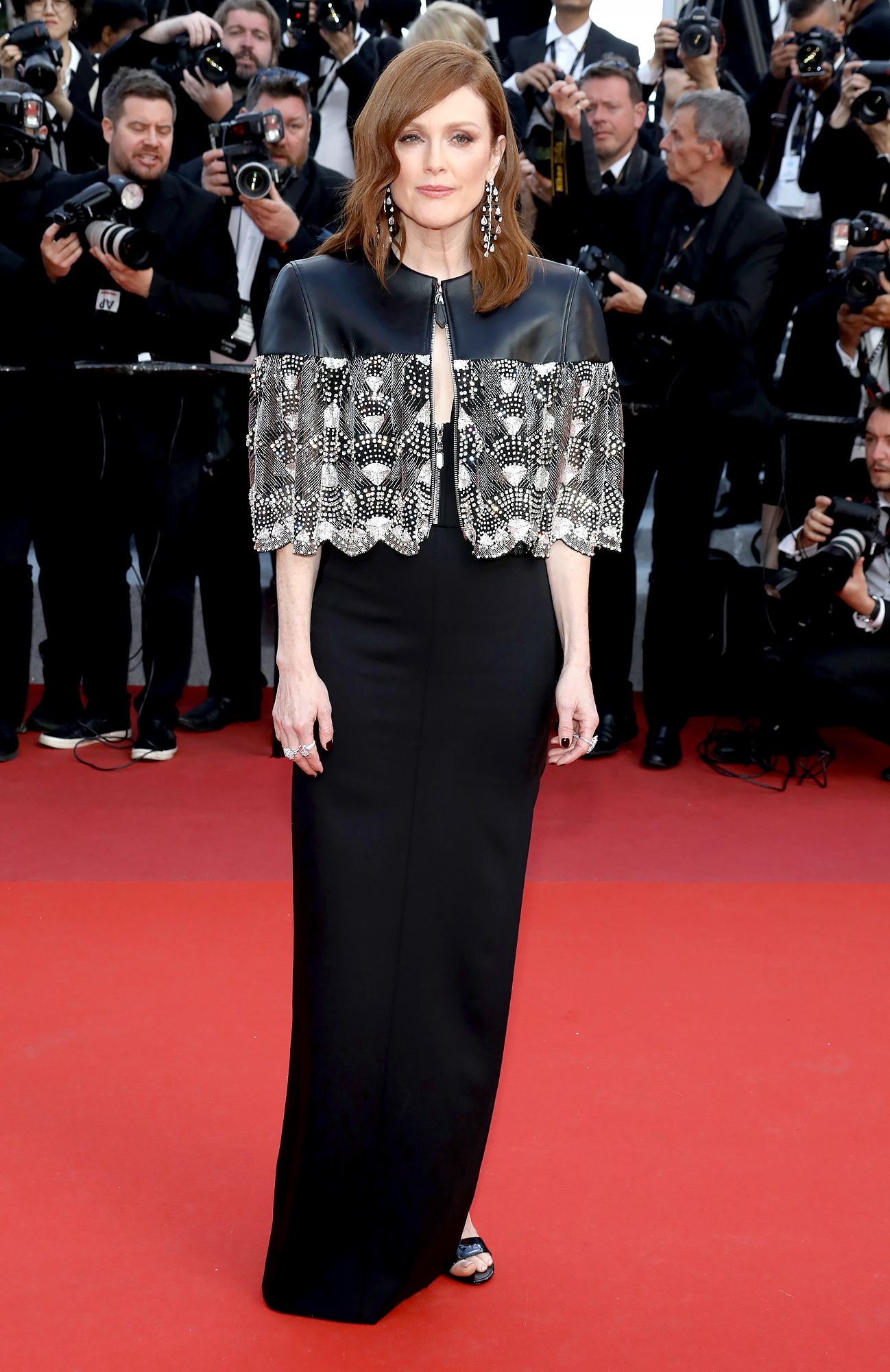 Julianne-Moore-Cannes-Festival - A leather and lace caplet proved to be the perfect complement to the actress' black Louis Vuitton gown at the Les Miserables premiere on Wednesday, May 15.