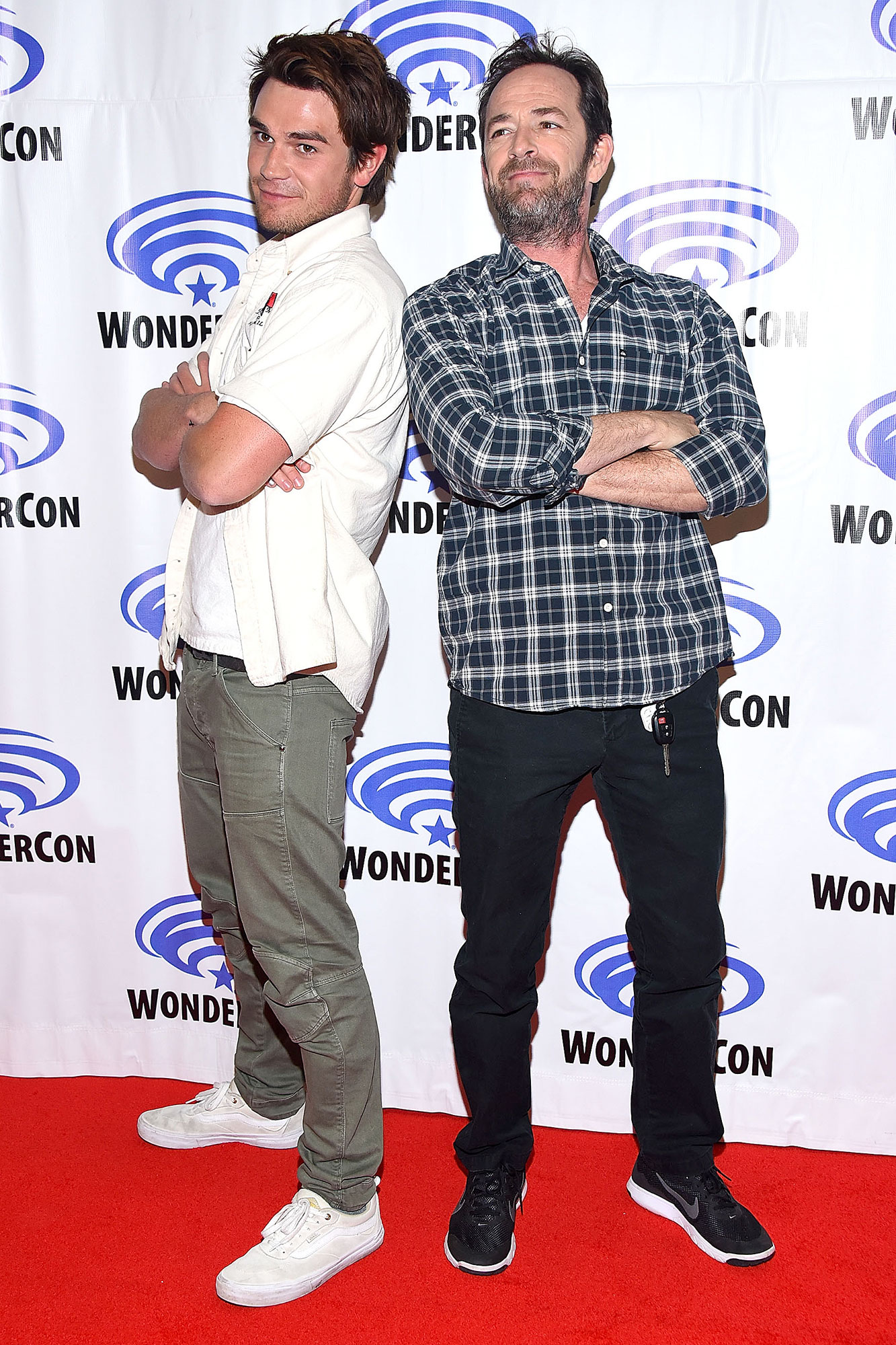 """KJ Apa on Mentor Luke Perry - K.J. Apa and Luke Perry attend the """"Riverdale"""" panel at WonderCon 2017 – Day 1 at Anaheim Convention Center on March 31, 2017 in Anaheim, California."""