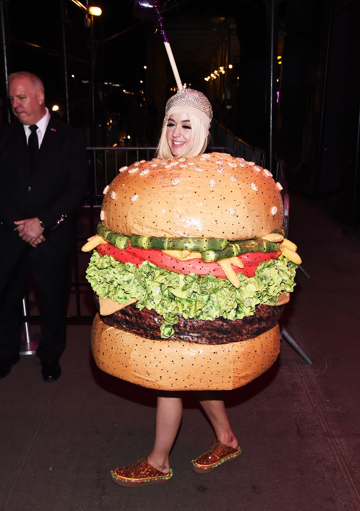 "Katy Perry Wore Some of Her Wackiest Outfits Ever to the 2019 Met Gala - For the 2019 Met Gala afterparties, the ""Roar"" singer walked around as a cheeseburger."