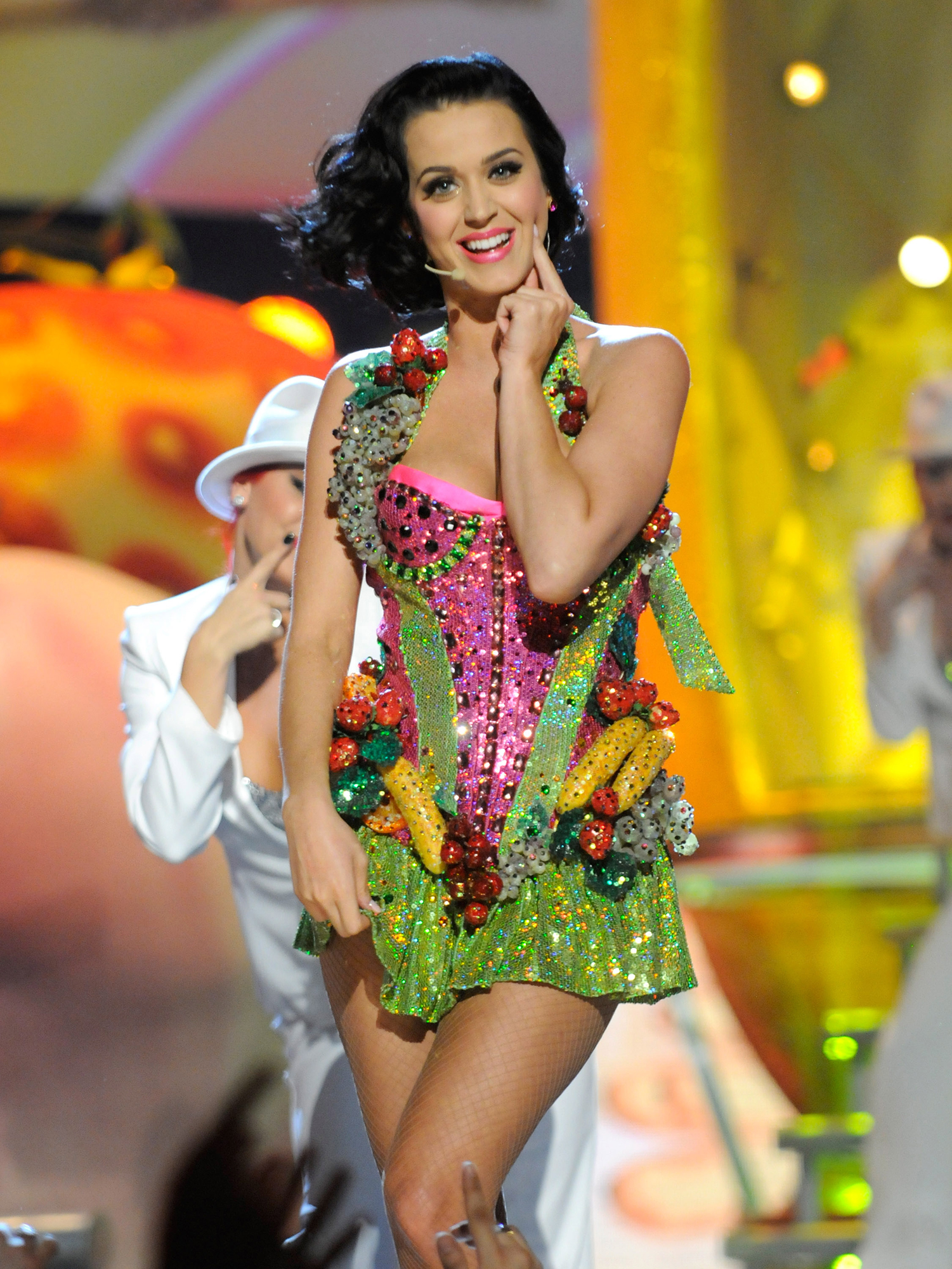 Katy Perry Dressed as Food - Perry took her affinity for fruit to the next level in February 2009 when she performed at the 51st Annual Grammy Awards in Los Angeles wearing an outfit that featured bedazzled bananas, watermelon pieces, cherries and more.