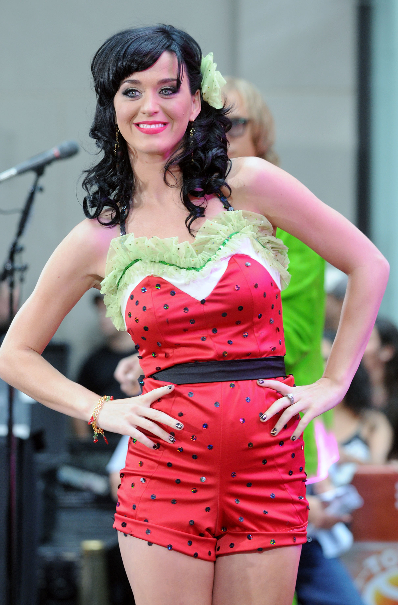 Katy Perry Dressed as Food - The award-winning singer took the stage at Rockefeller Plaza in New York City in 2008 dressed in a pink and green watermelon outfit complete with seeds and a matching hair accessory.