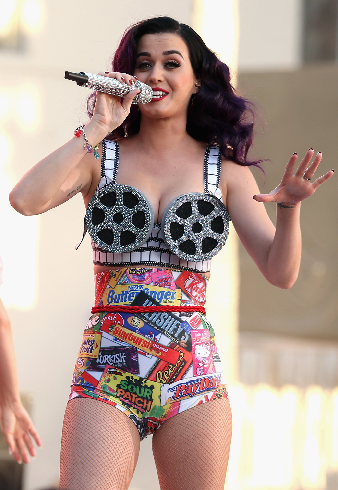 Katy Perry Dressed as Food - In addition to the popcorn outfit, Perry also wore an ensemble that was partially made out of various candy wrappers while strutting her stuff on stage in Hollywood in 2012.