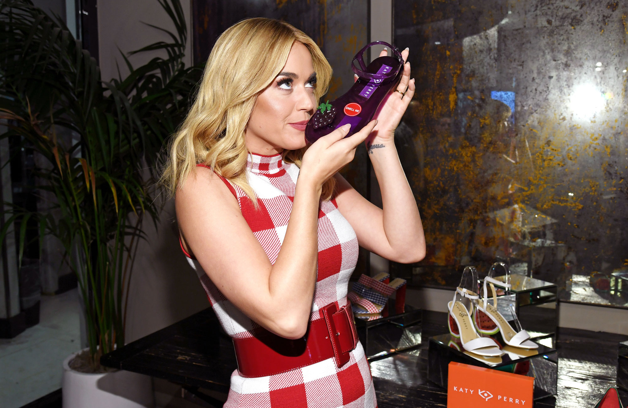 Katy Perry's Shoes Smell Like Fruit Macy's Herald Square - Katy Perry celebrates the launch of her latest Shoe Collection at Macy's Herald Square on May 08, 2019 in New York City.