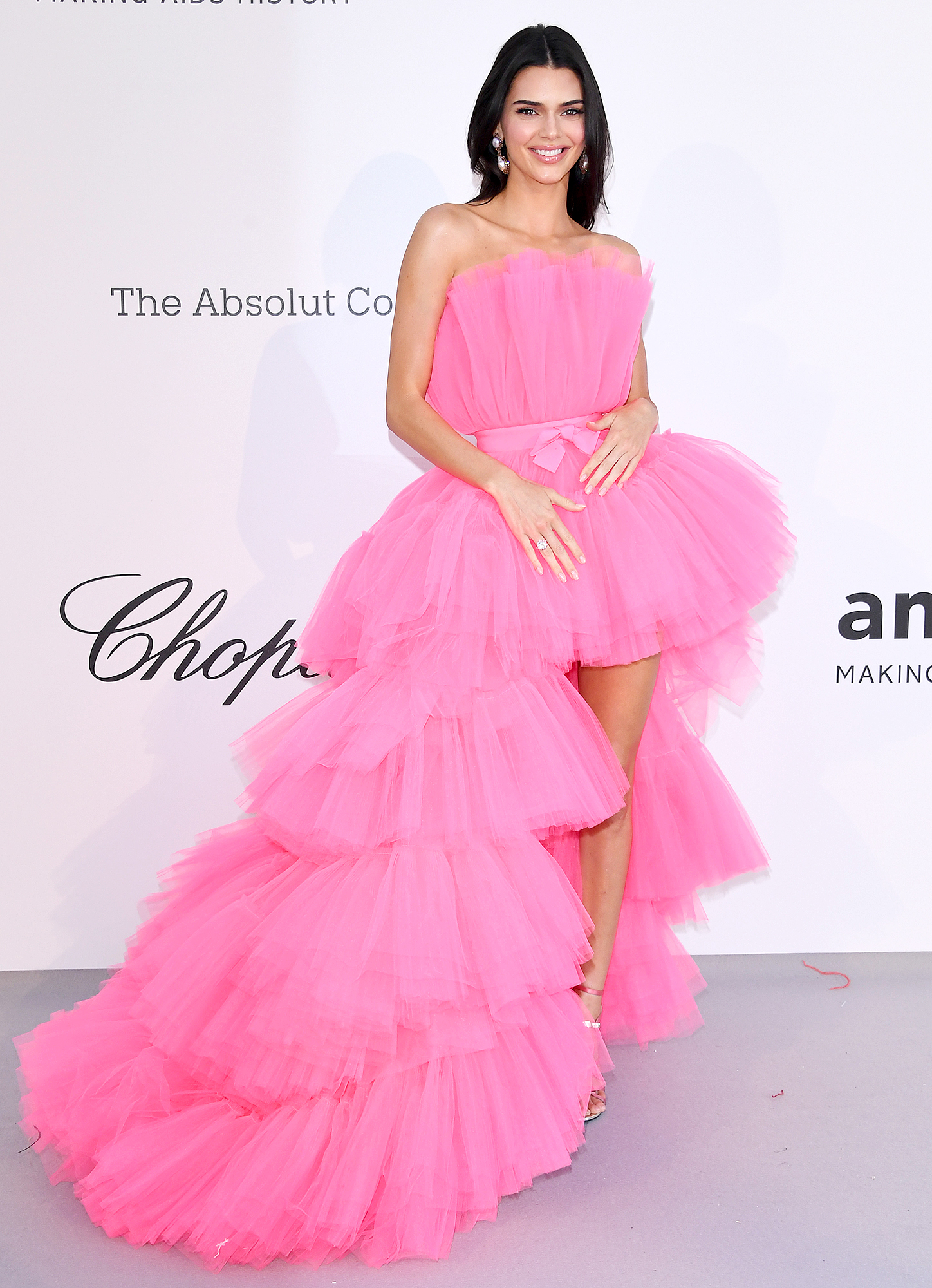 Kendall-Jenner - The reality star rocked one of the new dresses from the Giambattista Valli x H&M collab at the amfAR Cannes Gala on Thursday, May 23.