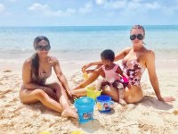 Khloe Kardashian and Daughter True Hit the Beach in Turks and Caicos