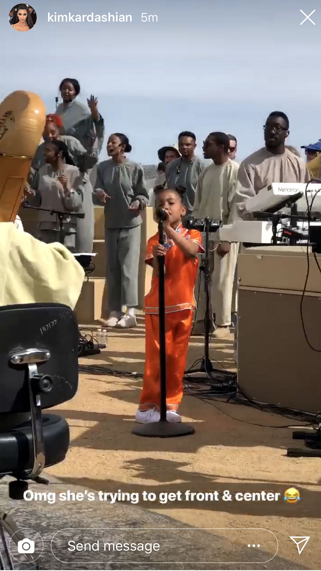 """Kim Kardashian and Kanye West's Sweetest Moments With Their Kids - North and her dad collaborated on Stevie Wonder's """"As"""" at West's Sunday Service. """"Omg she's trying to get front & center,"""" Kardashian captioned a clip of her daughter pulling the microphone free as she performed."""