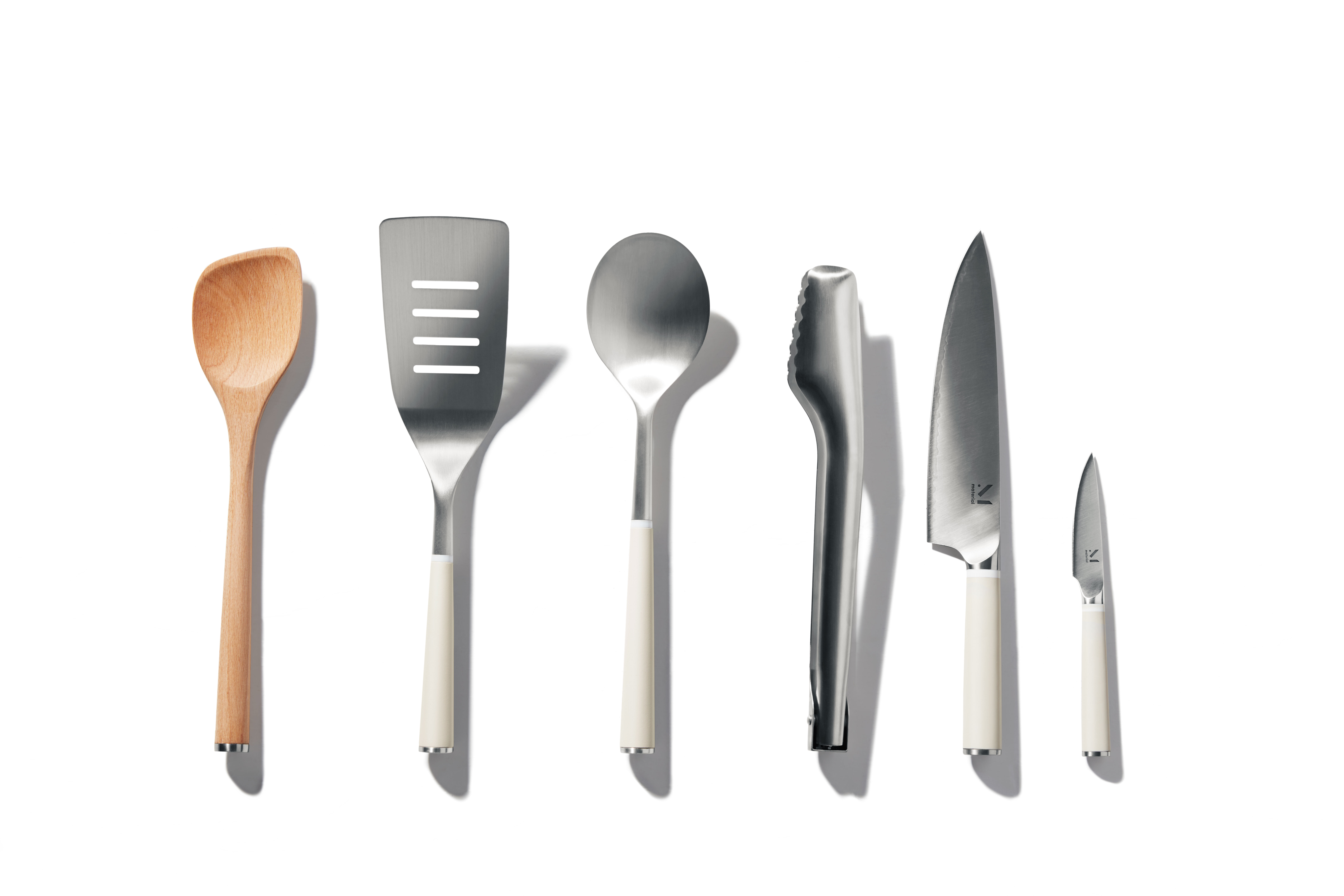 Kitchen Fundamentals Collection Mother's Day Gifts for the Foodie in Your Life - Material is a direct-to-consumer kitchenware brand whose products seamlessly blend functionality and design, and its products, which have been featured in Vogue and Gwyneth Paltrow's Goop are perfect for the mom who loves to cook and entertain. The company's fundamentals collection includes two knives, tongs, two spoons, a slotted spatula and a sleek base to store everything in.
