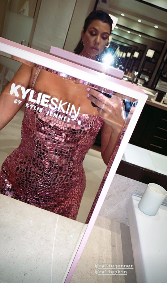 kylie skin launch party Kourtney Kardashian - Kourtney showed off her reflective pink dress with a cool selfie in a Kylie Skin mirror. She also posted a picture of herself and friend Stephanie Shepherd posing with stuffed animals at the event.