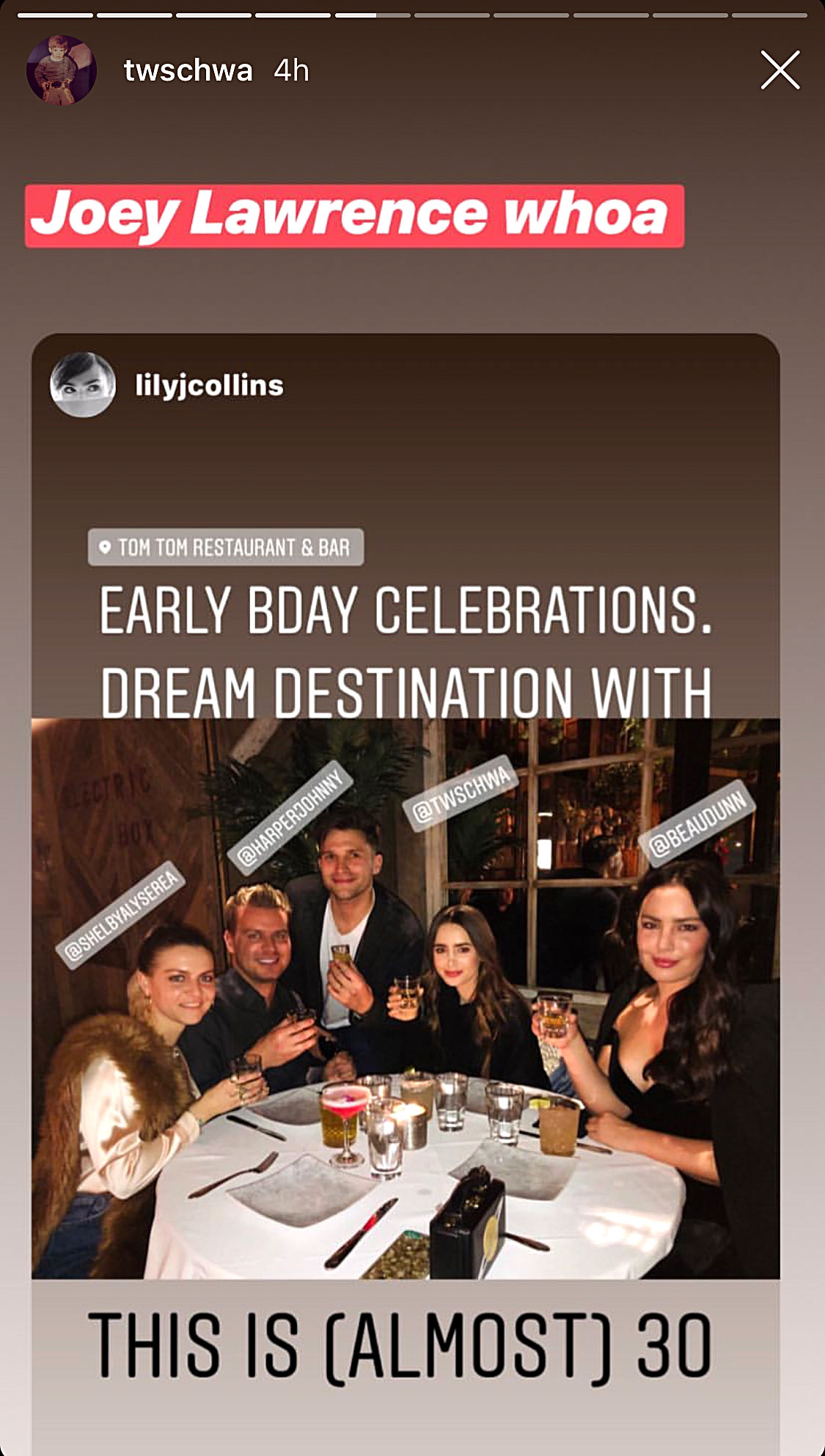 Celebs at Tom Tom Lily Collins - The Mirror Mirror star ventured to Tom Tom in February 2019 as part of an early celebration for her 30th birthday, which was the following month. According to a post on Tom Schwartz's Instagram Stories, the actress enjoyed some of the establishment's signature cocktails alongside pals Johnny Harper and Beau Dunn.