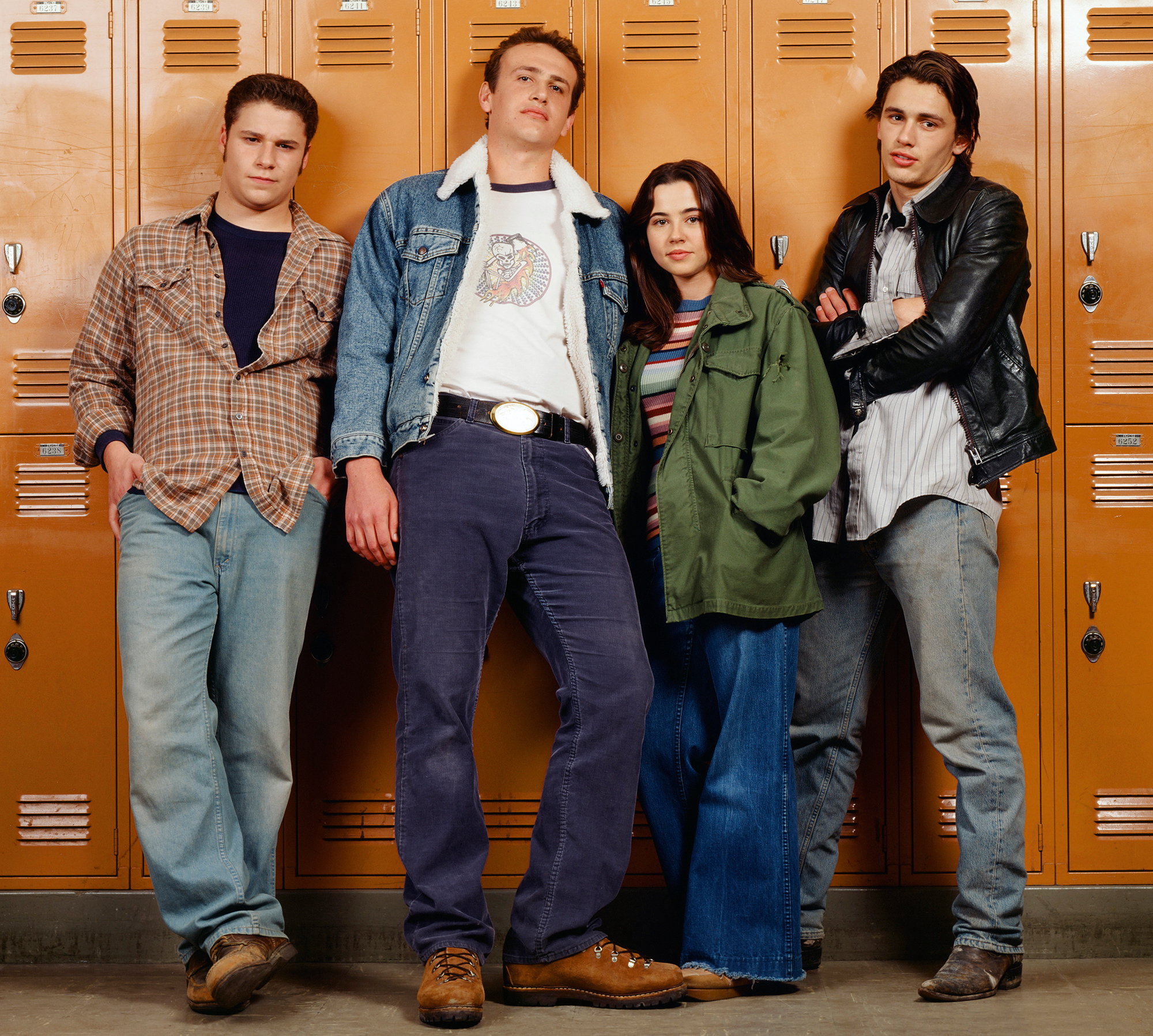 Linda Cardellini Talks 'Freaks and Geeks' Reboot - Seth Rogen as Ken Miller, Jason Segel as Nick Andopolis, Linda Cardellini as Lindsay Weir, and James Franco as Daniel Desario on 'Freaks and Geeks.'