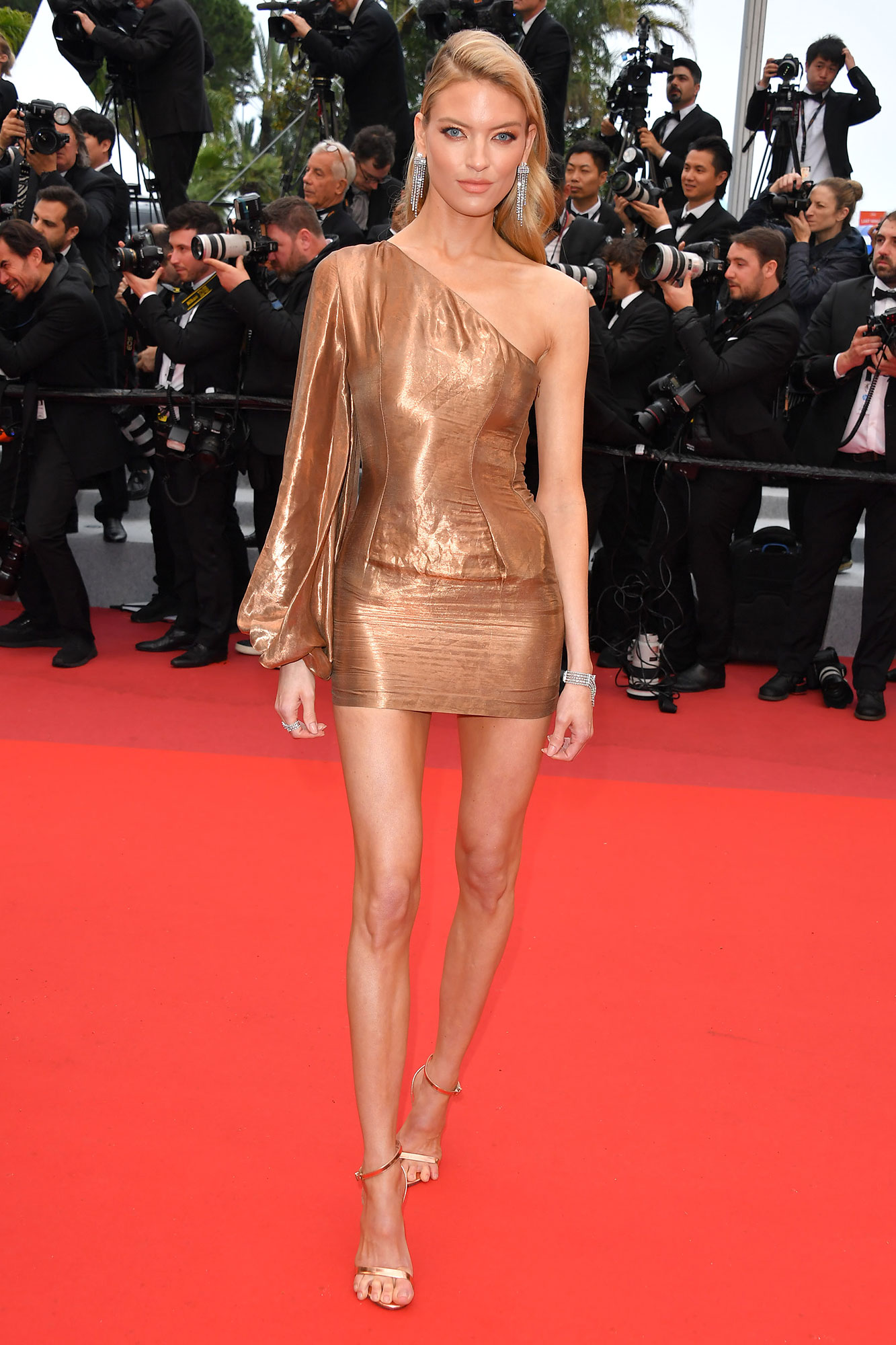 Martha Hunt Stepping Out in Style at Cannes Film Festival - At the Les Plus Belles Annees D'Une Vie screening on Saturday, May 18, the model was a bronze goddess in her Stella McCartney mini that showed off her mile-long legs.