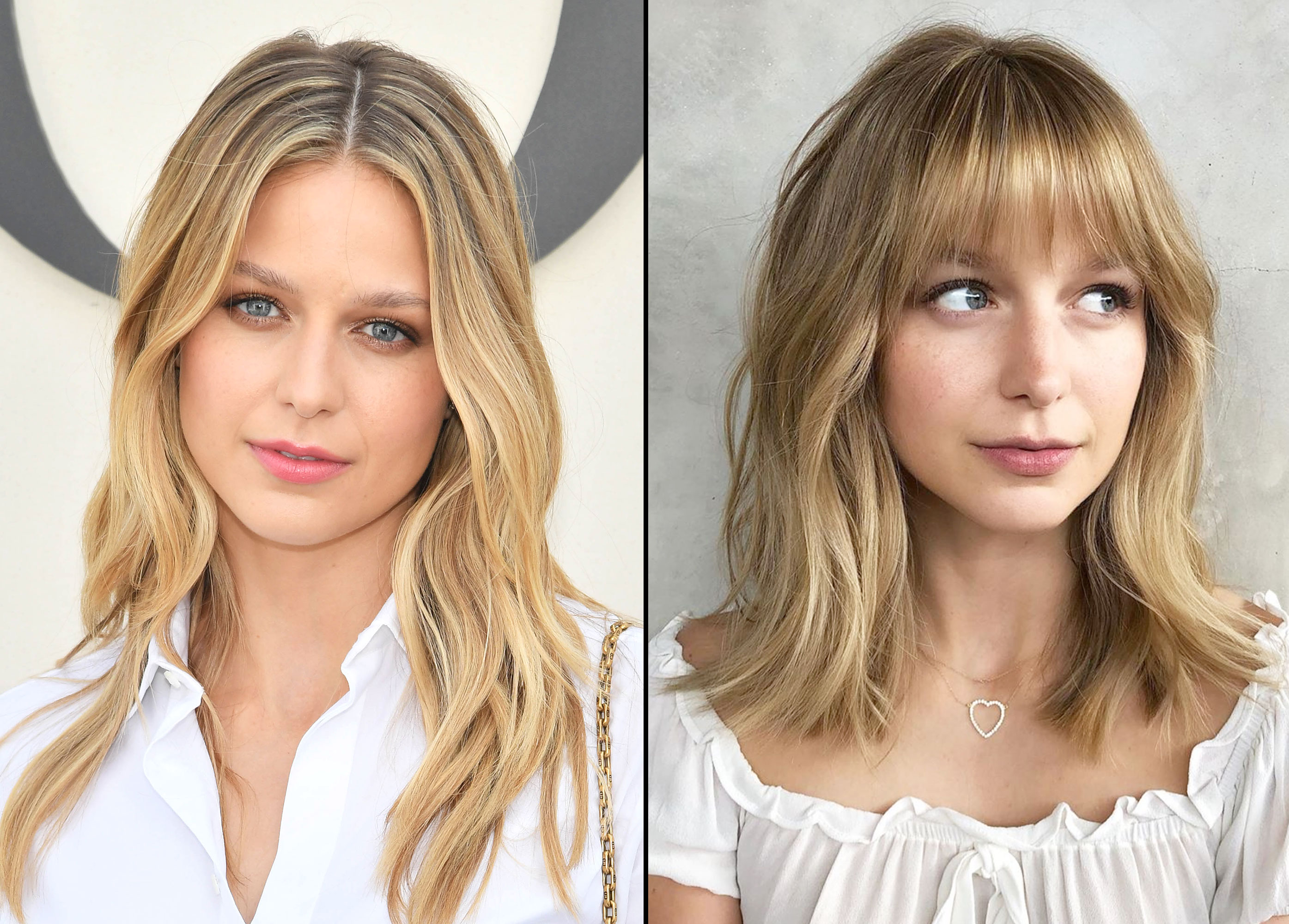 Melissa Benoist Celebrity Hair Transformation - In an Instagram post on May 14, 2019, the Supergirl star debuted fresh fringe with some natural sun-kissed highlights courtesy of Riawna Capri.
