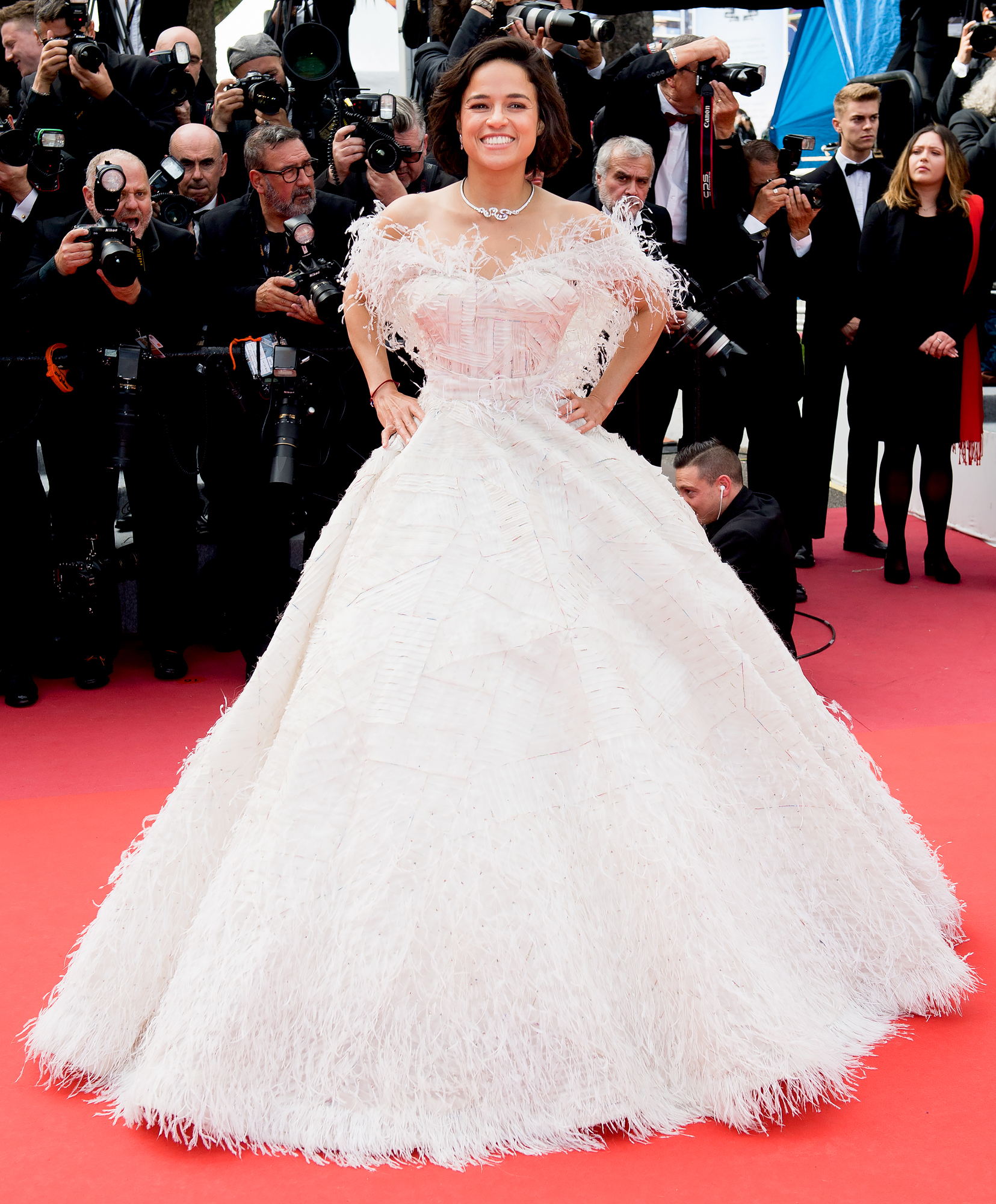 Michelle-Rodriguez - The actress was the belle of the ball in her feathery Rami Kadi gown at the Once Upon a Time in Hollywood premiere on Tuesday, May 21.
