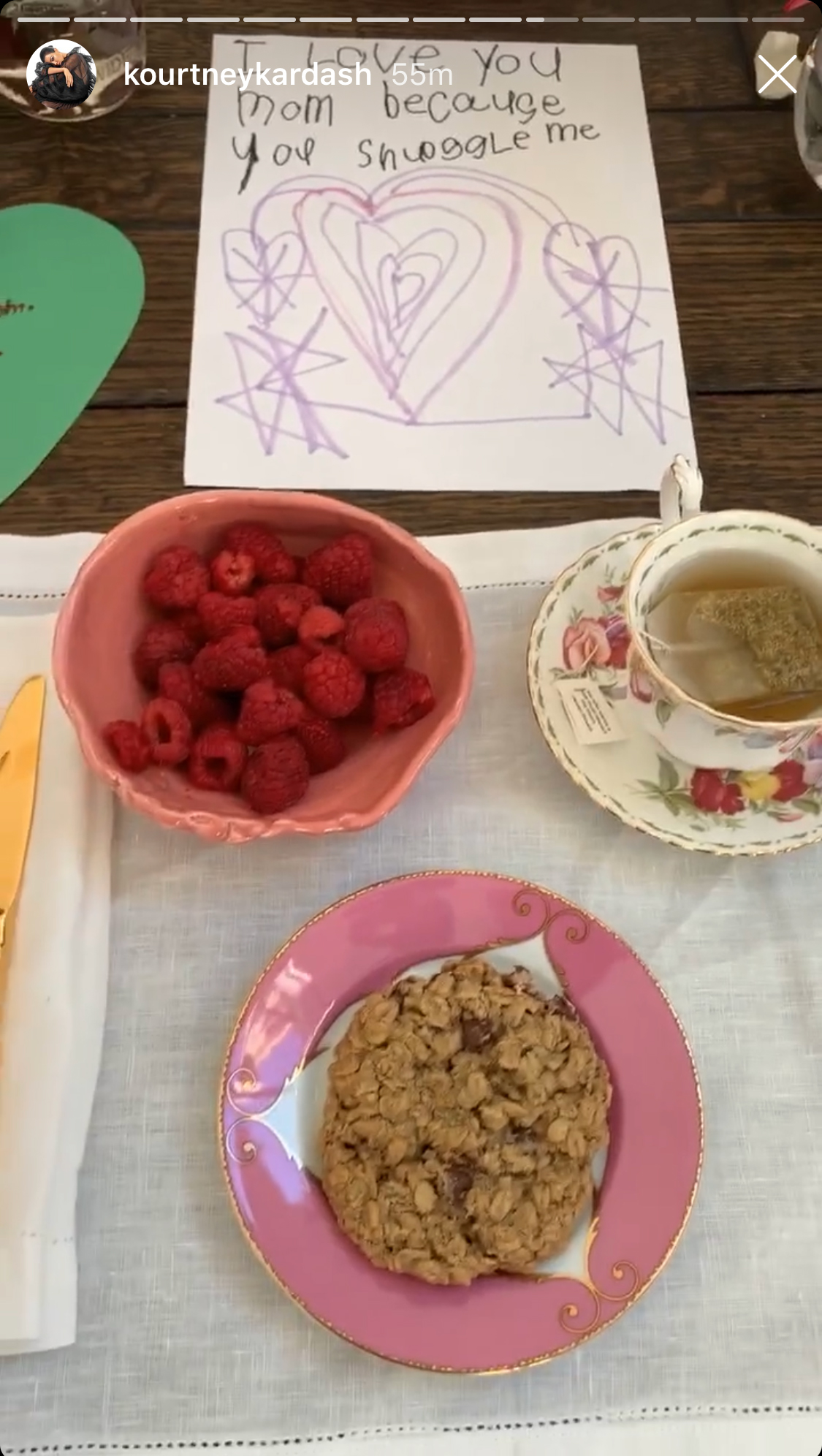 Mothers' Day Meals - When the Poosh founder woke up on Mother's Day, she was treated to a sweet breakfast from her three kids – Mason, 9, Penelope, 6, and Reign, 4. The trio prepared a cup of tea, some granola and fresh raspberries for their hard-working mom.