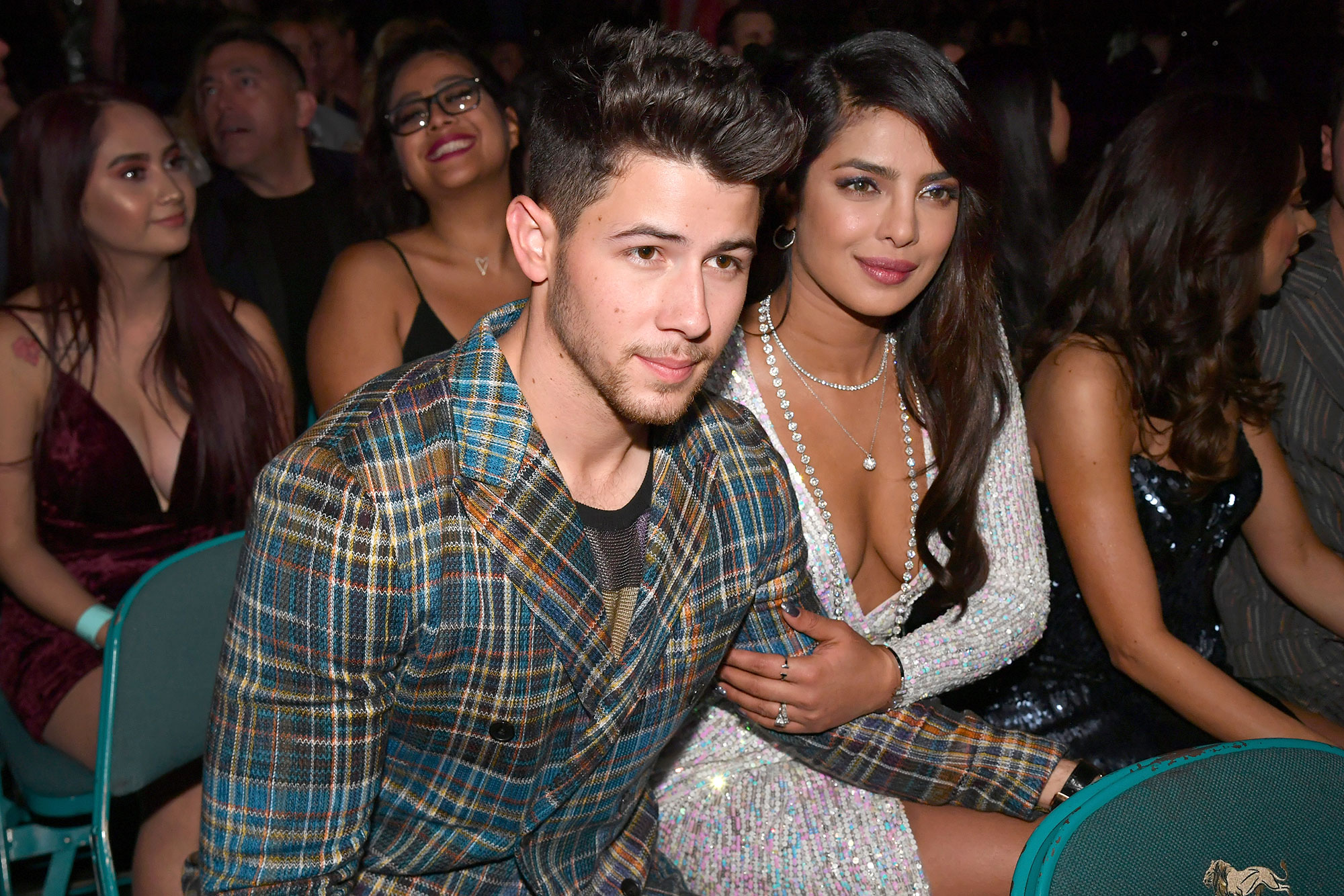 Nick-Jonas-and-Priyanka-Chopra-In-Seats-Billboard-Music-Awards-2019 - Nick and Priyanka stole a kiss during the Jonas Brothers' performance.
