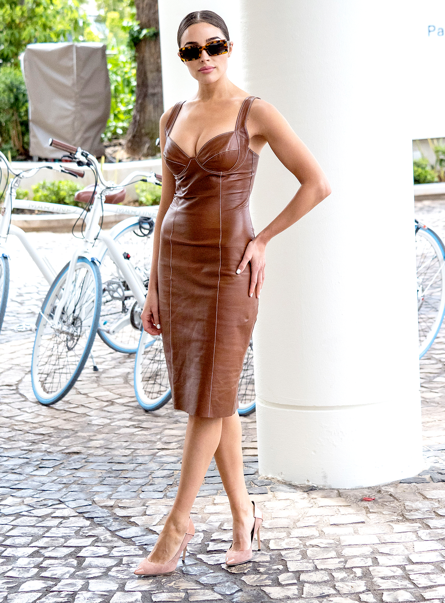 Olivia-Culpo - The former Miss Universe looked lovely in a leather bustier-inspired frock on Thursday, May 23.