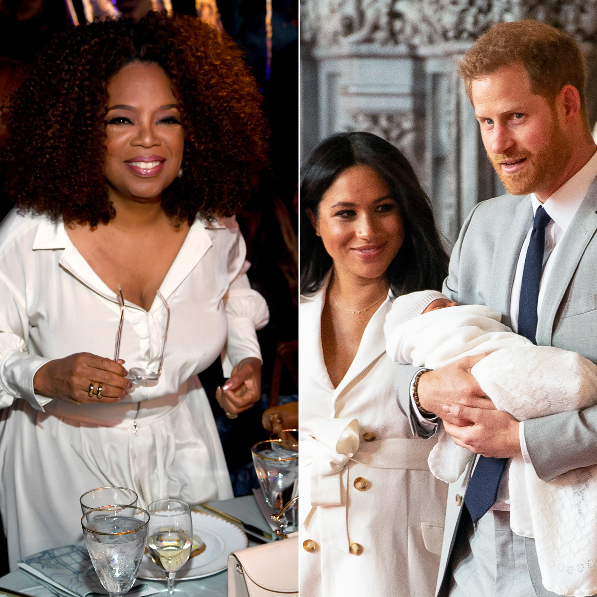 Oprah Winfrey Bought Present Prince Harry Duchess Meghan Royal Baby - Oprah Winfrey, Duchess Meghan, Duchess Harry and the new royal baby, Archie.
